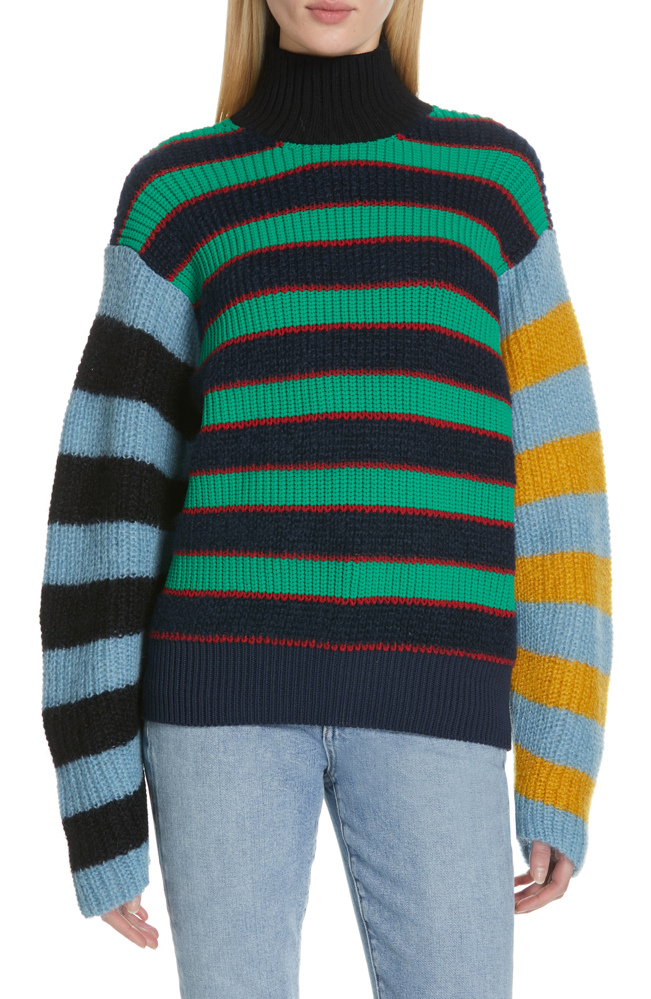 Colorblock Stripe Mohair & Wool Blend Sweater,                             Main thumbnail 1, color,                             MULTICOLOR