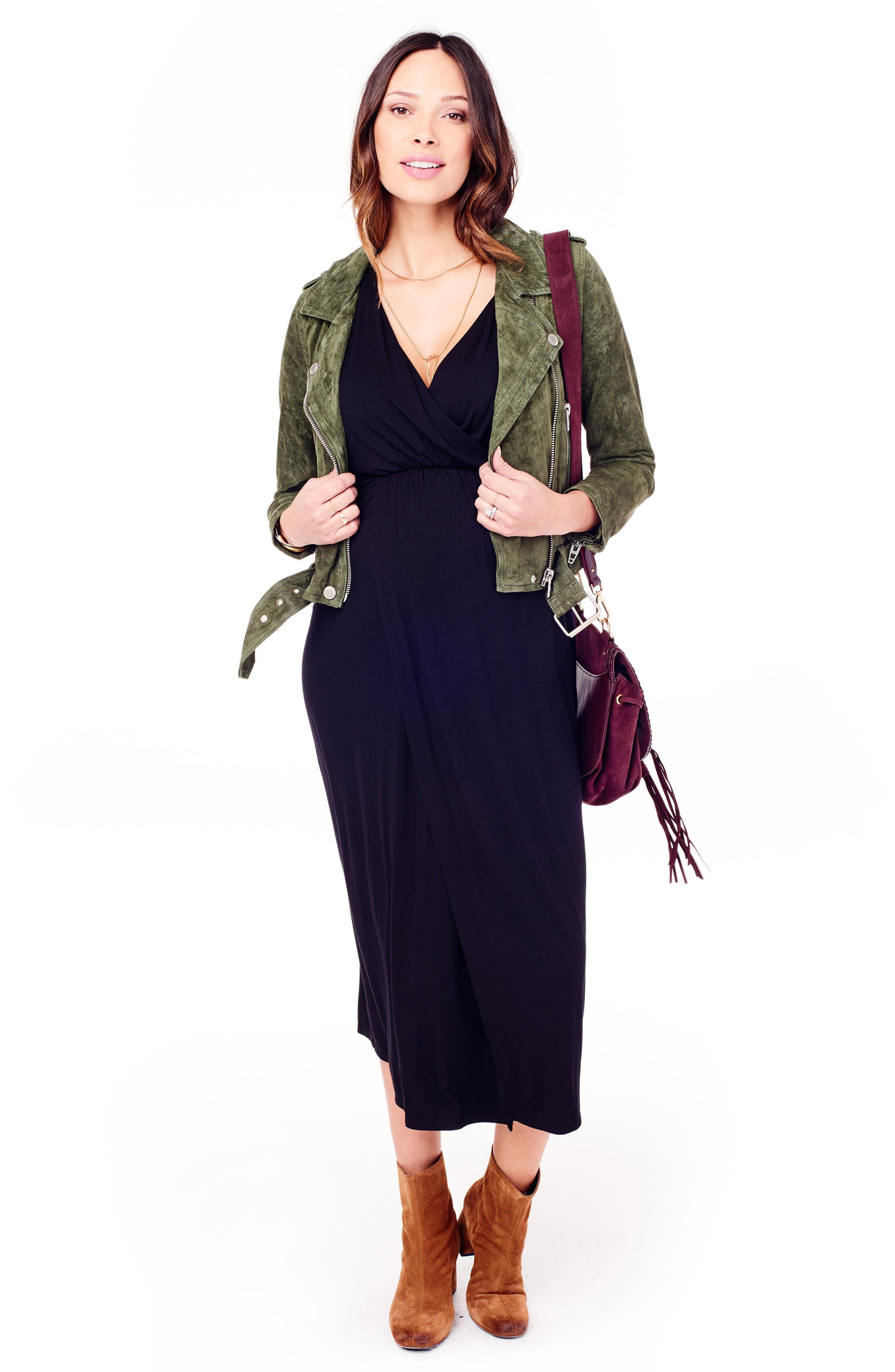Dolman Sleeve Maternity Dress,                             Alternate thumbnail 5, color,                             JET BLACK