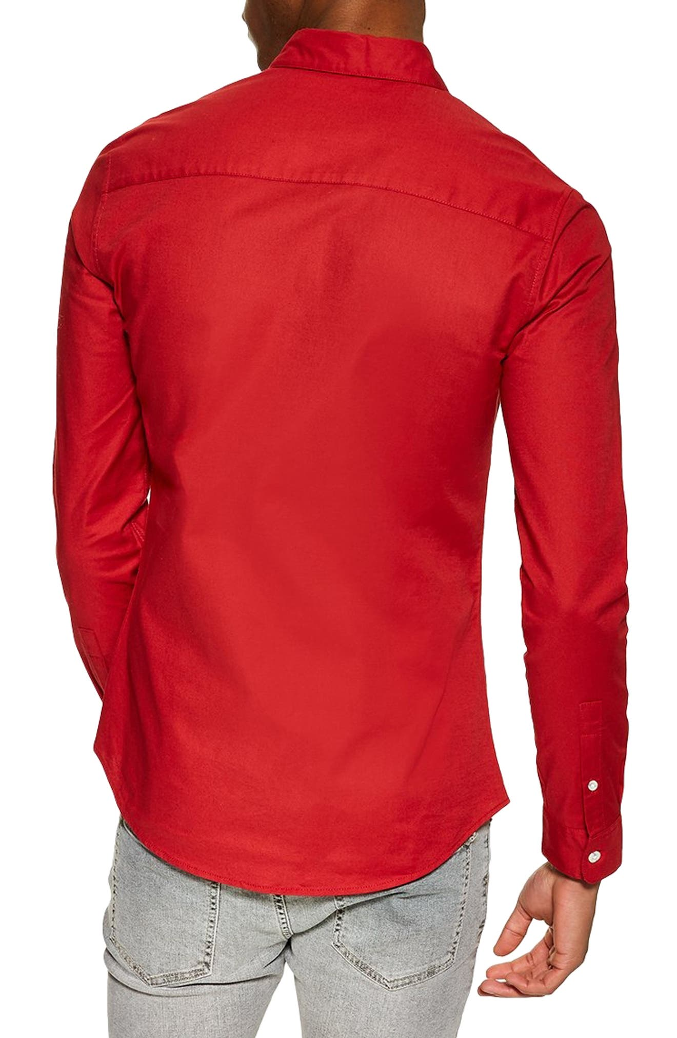 Stretch Solid Sport Shirt,                             Alternate thumbnail 3, color,                             RED