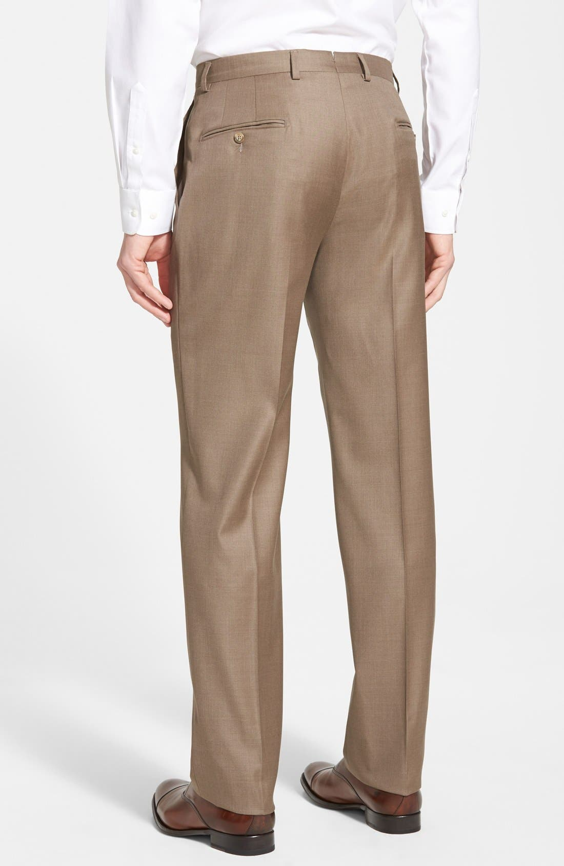 Classic B Fit Flat Front Wool Trousers,                             Alternate thumbnail 2, color,                             230