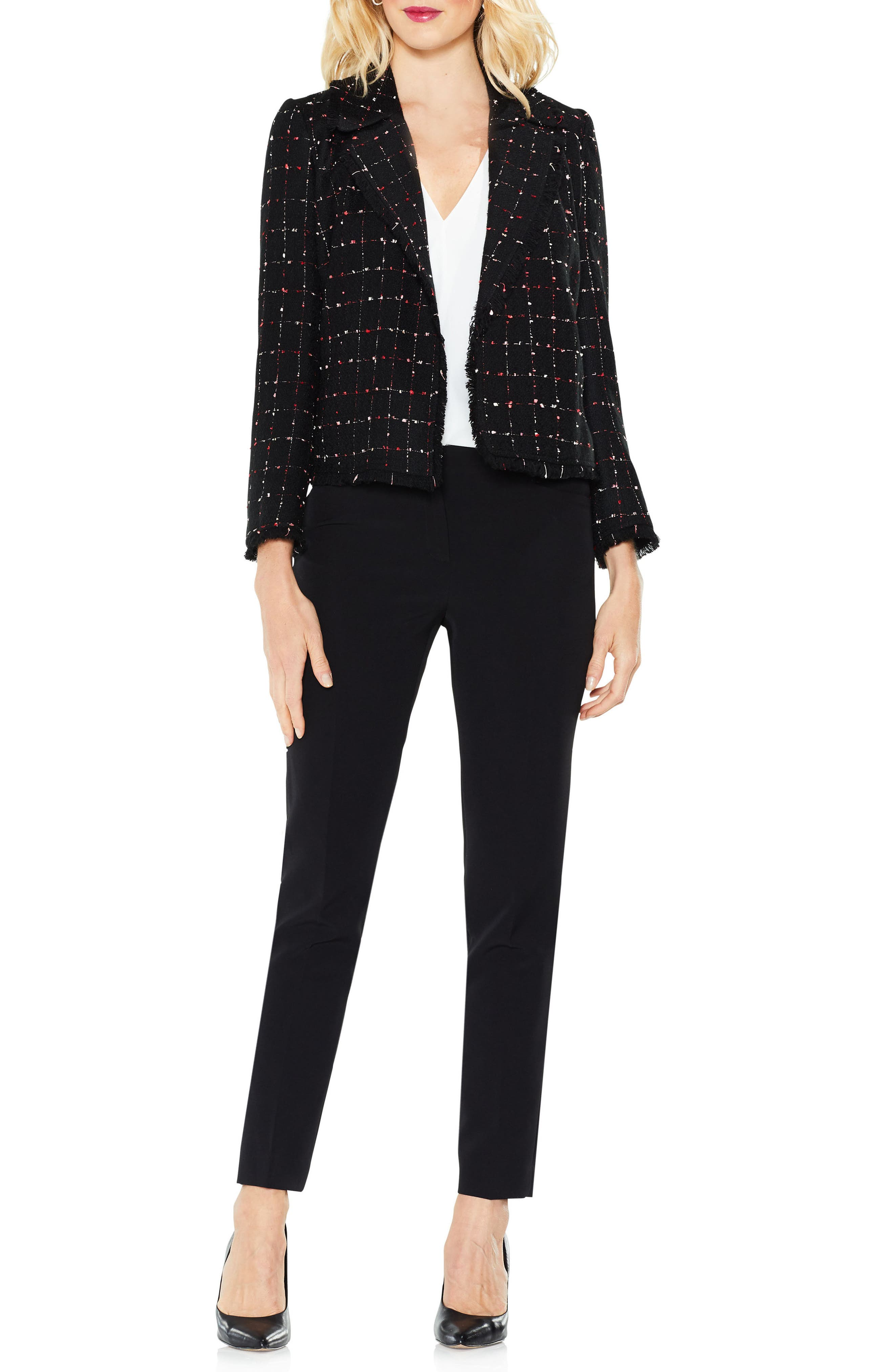 Spring Windowpane Tweed Open Front Jacket,                         Main,                         color, RICH BLACK