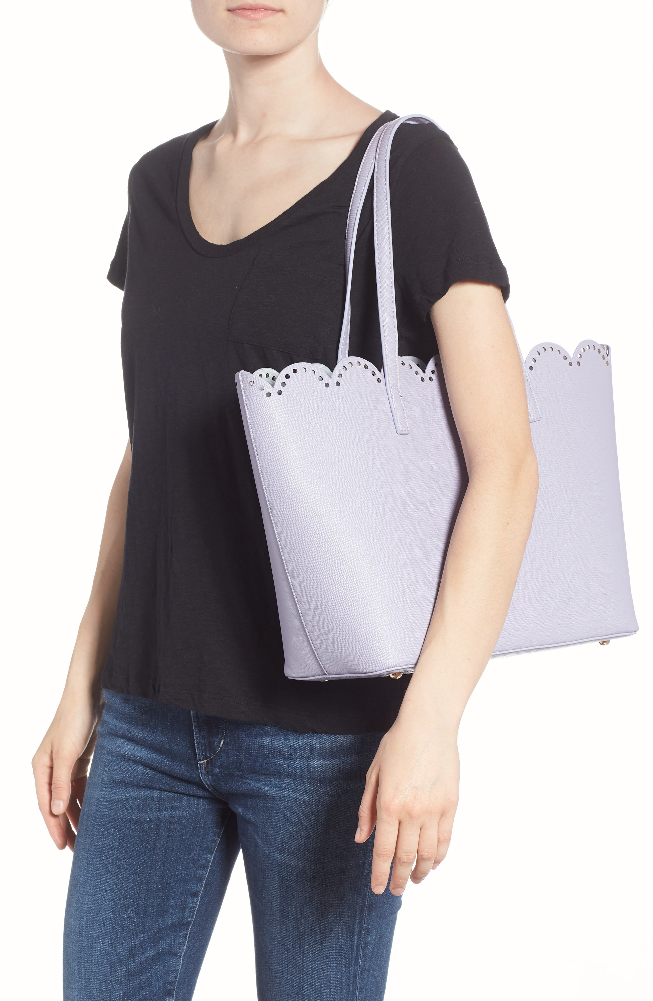 Scalloped Faux Leather Tote,                             Alternate thumbnail 9, color,