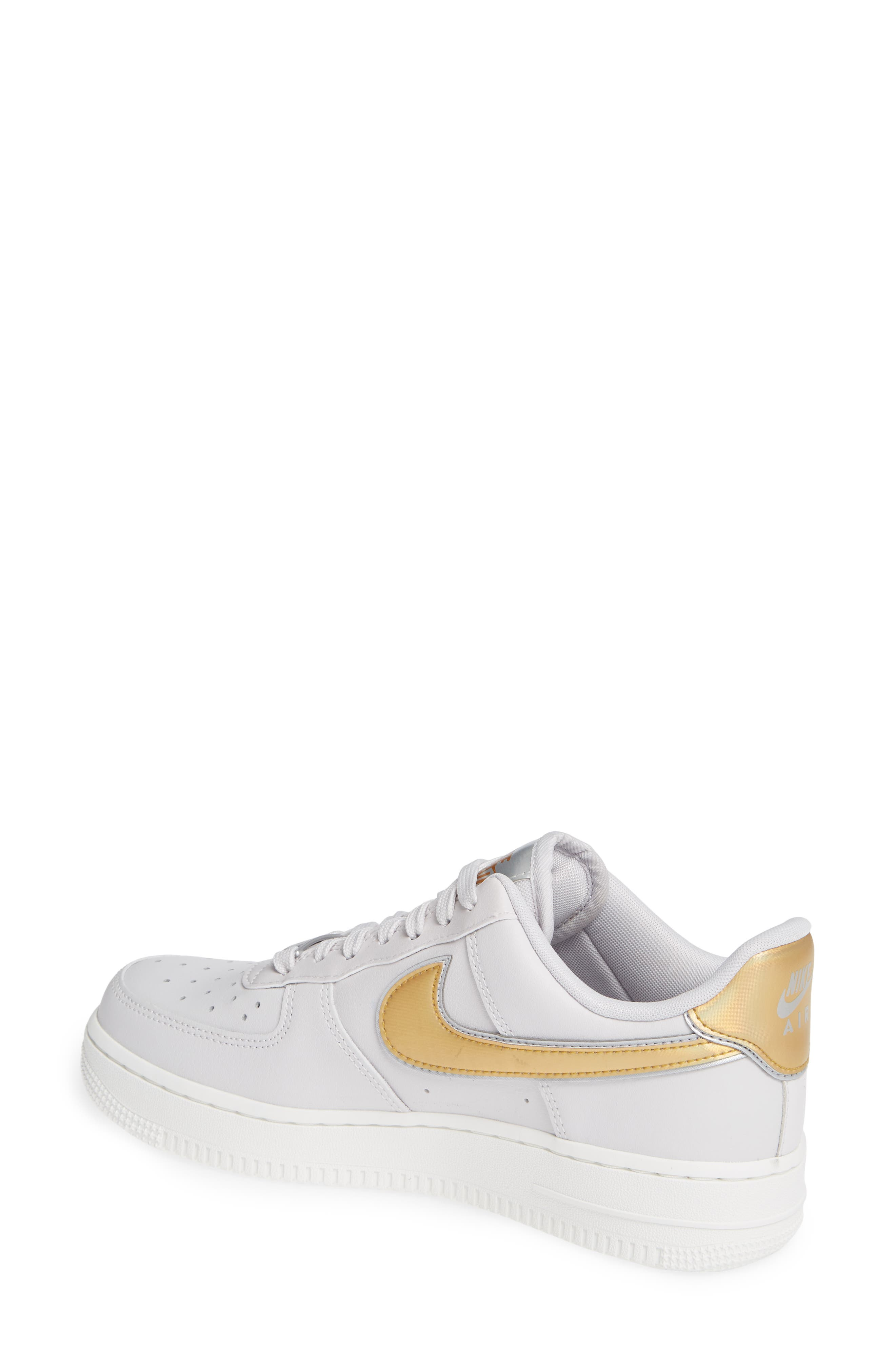 Air Force 1 '07 Premium Sneaker,                             Alternate thumbnail 2, color,                             GREY/ METALLIC GOLD- WHITE