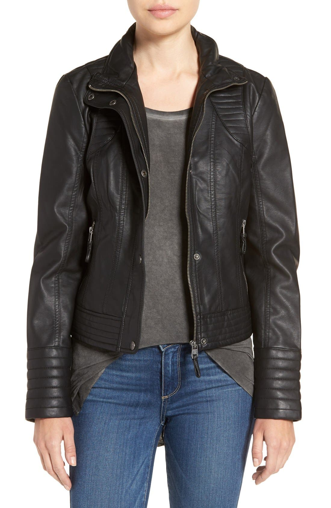 Quilted Faux Leather Jacket,                             Main thumbnail 1, color,                             001