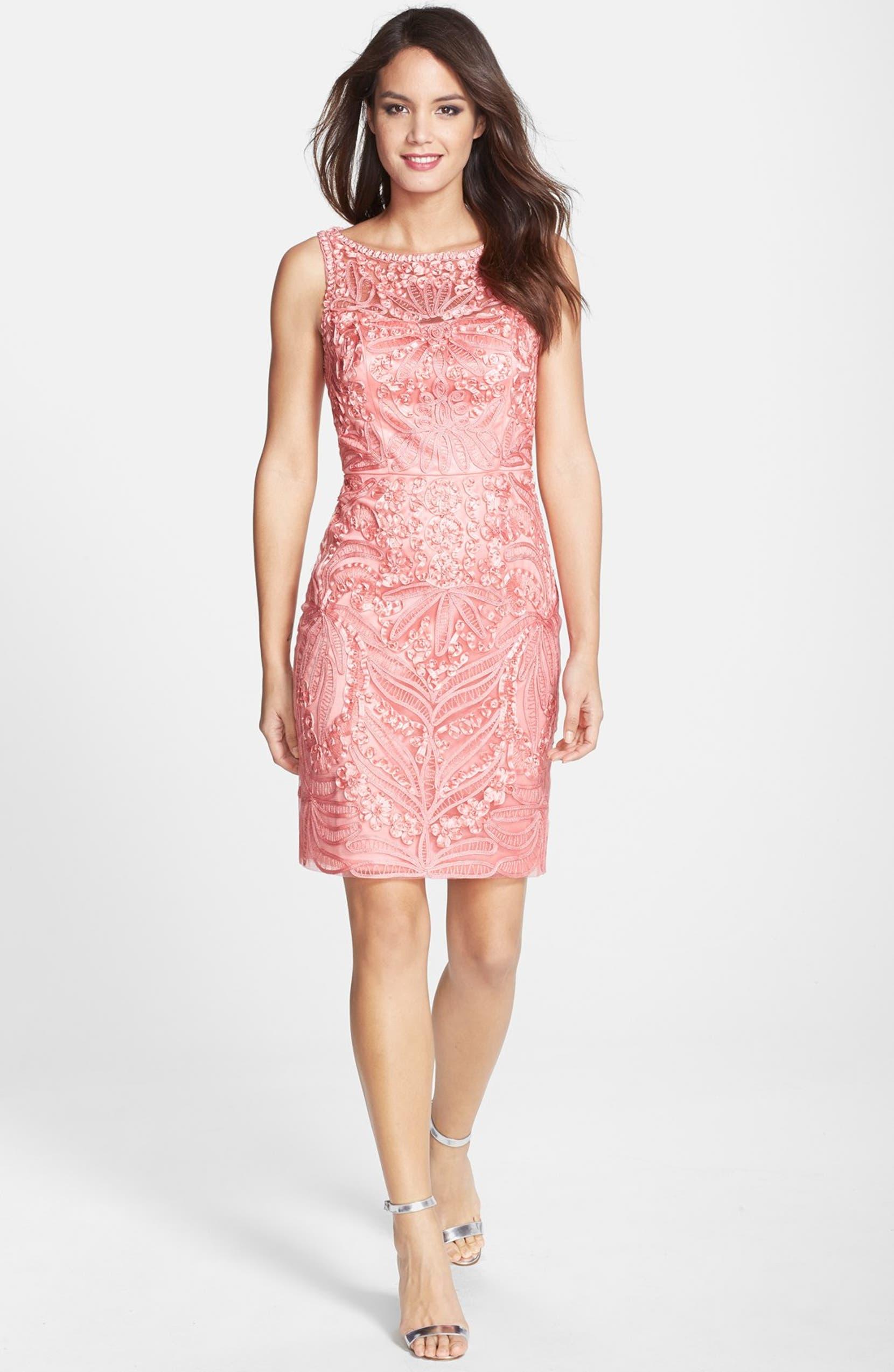 Sue Wong Ribbon Appliqué Sleeveless Sheath Dress | Nordstrom
