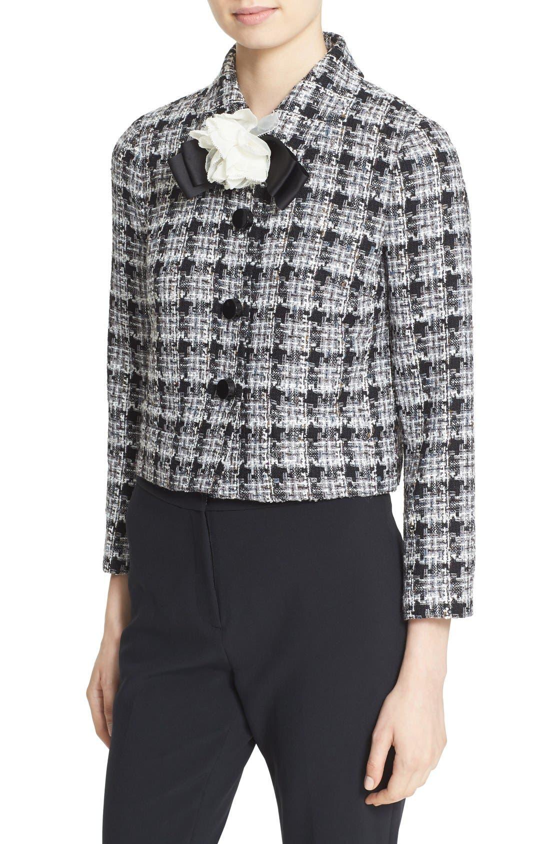 rosette bow tweed jacket,                             Alternate thumbnail 3, color,                             018