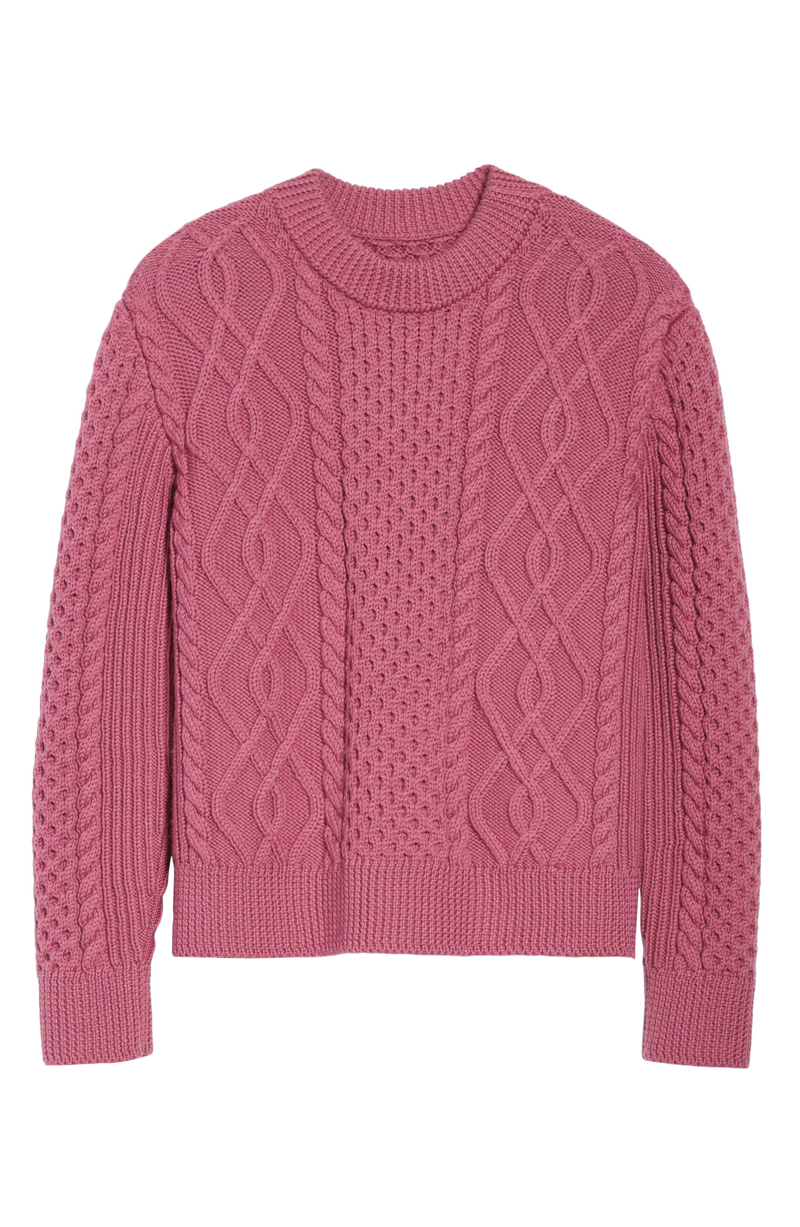 Merino Wool Cable Knit Sweater,                             Alternate thumbnail 6, color,