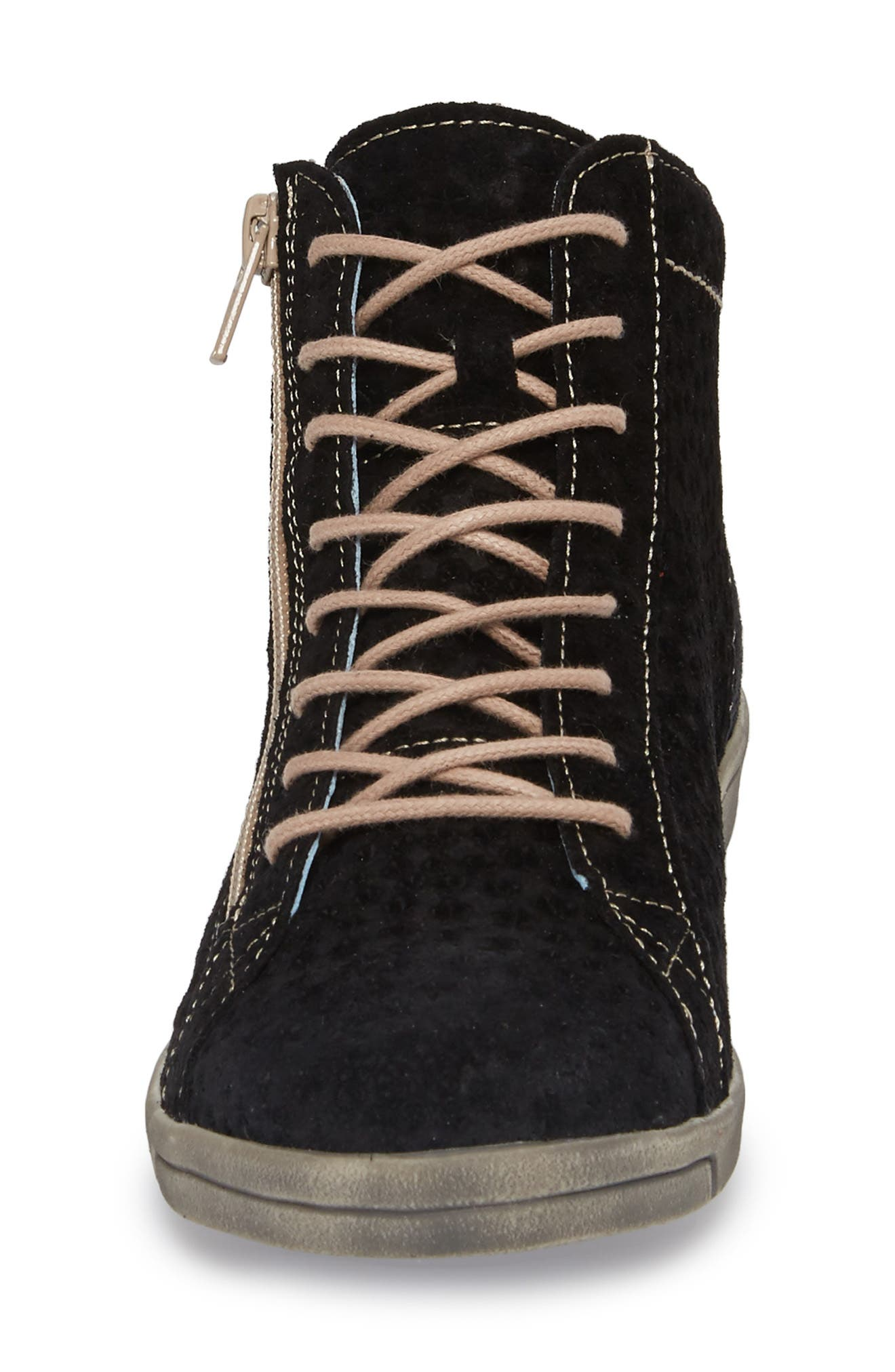 Aika Star Perforated High Top Sneaker,                             Alternate thumbnail 4, color,                             BLACK LEATHER