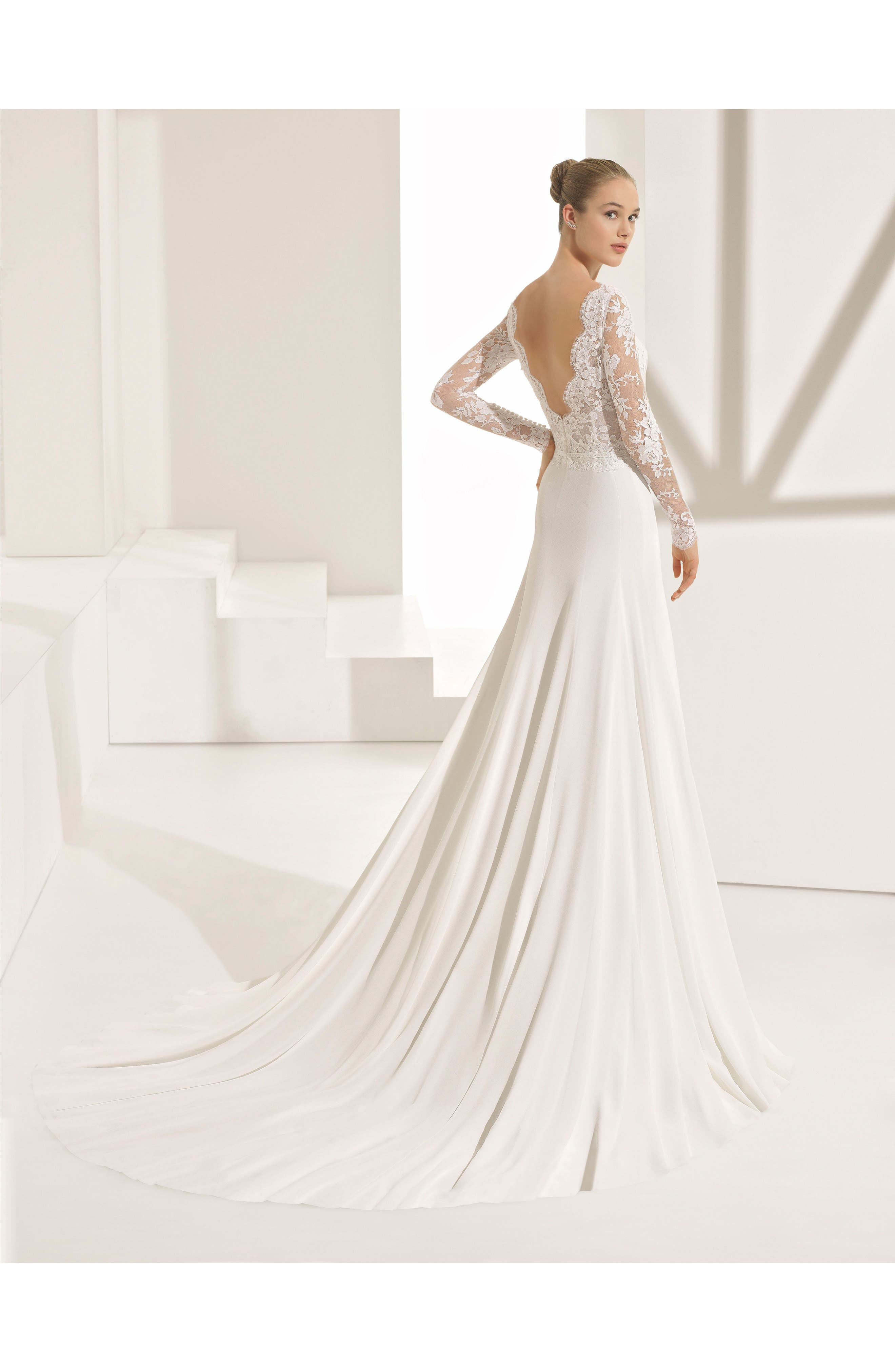 Rosa Clará Couture Pascal Lace & Crepe A-Line Gown,                             Alternate thumbnail 2, color,                             NATURAL