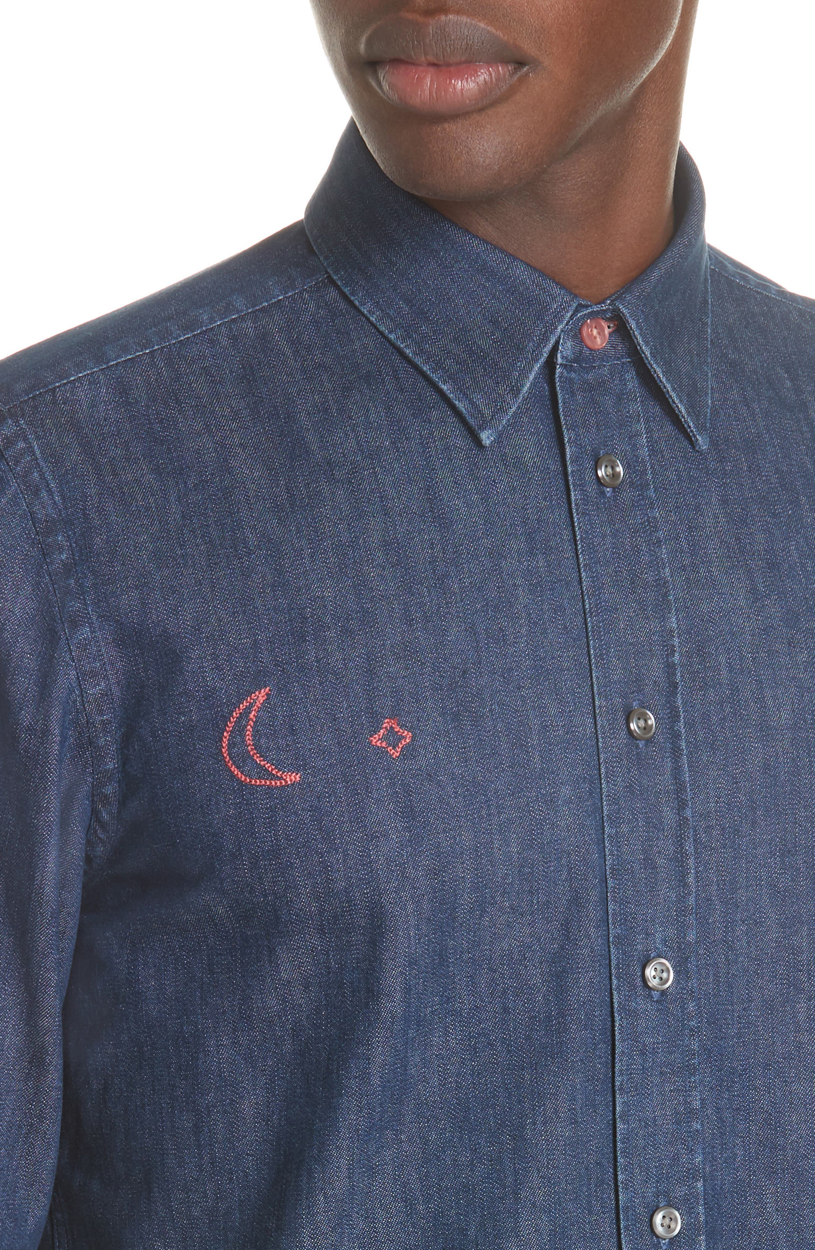 PS PAUL SMITH,                             Denim Shirt with Embroidery,                             Alternate thumbnail 2, color,                             427