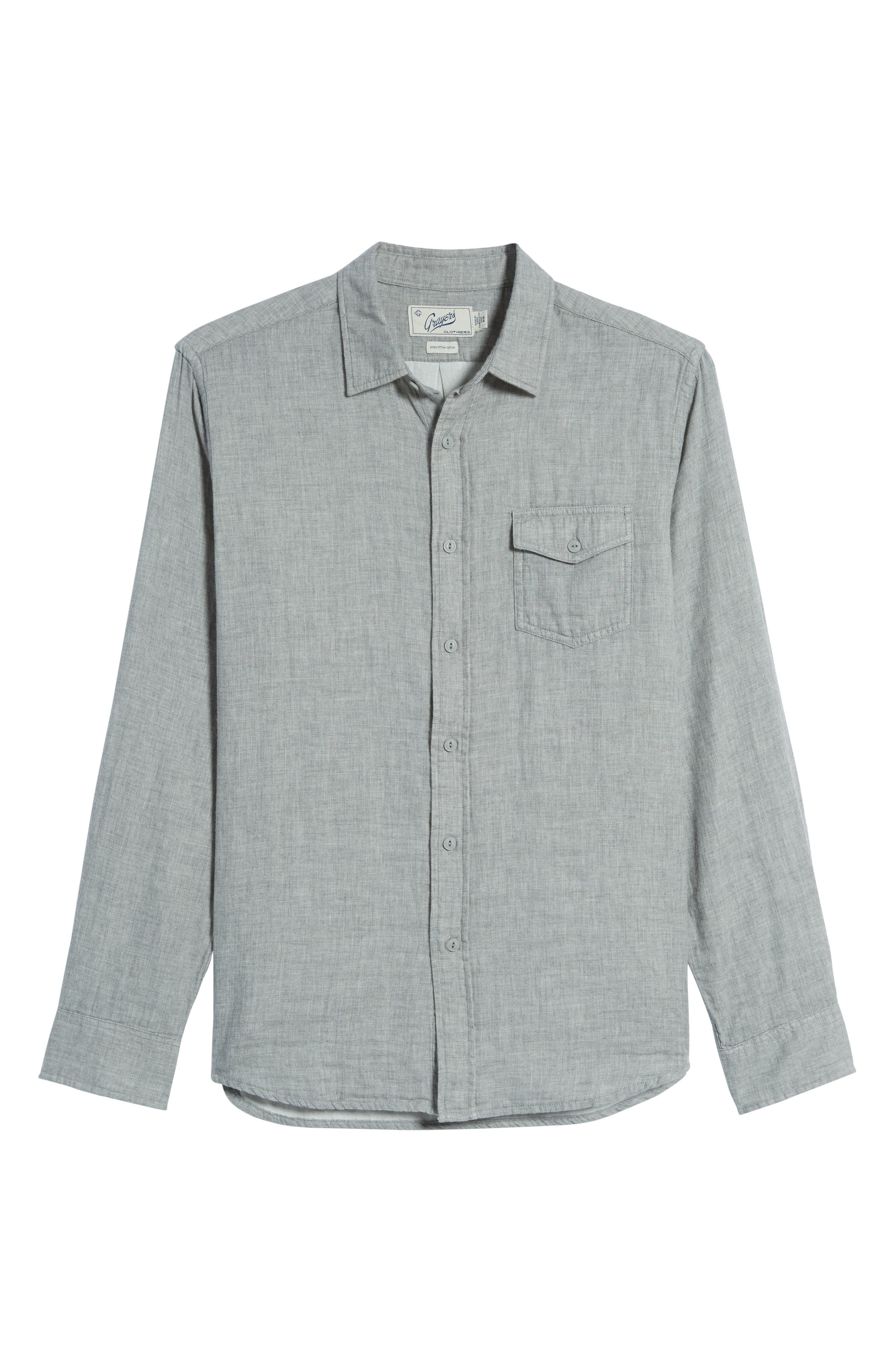 Hartford Double Cloth Sport Shirt,                             Alternate thumbnail 6, color,