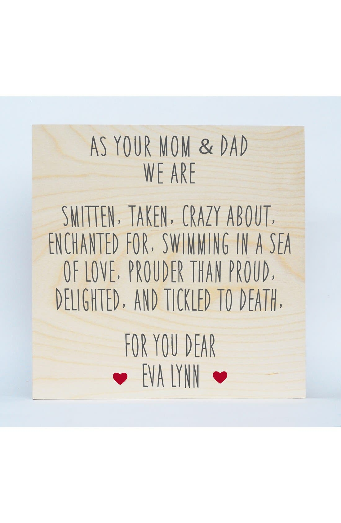 'Mom & Dad' Personalized Birchwood Wall Art,                             Main thumbnail 1, color,                             RED