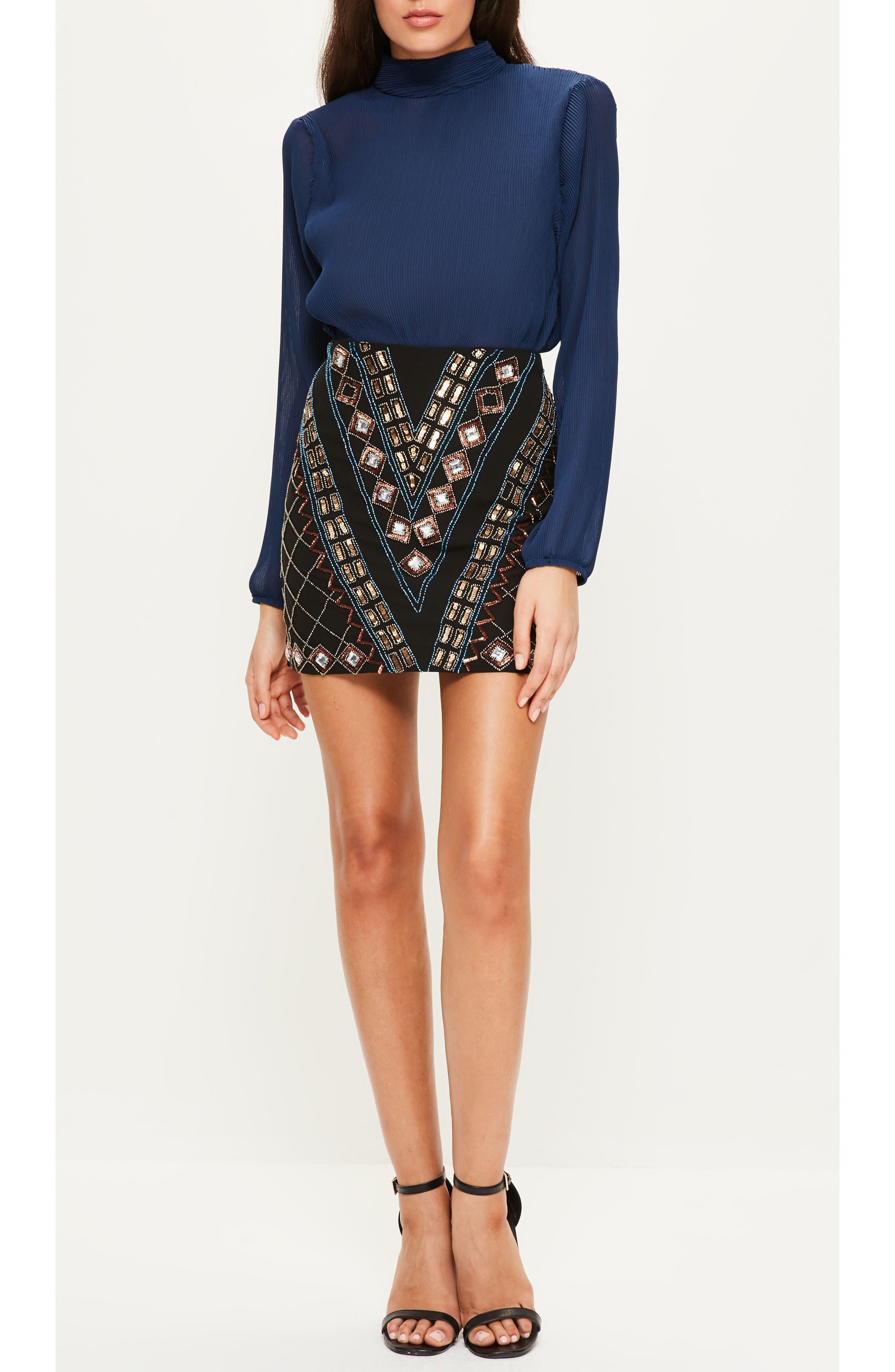 Embellished Miniskirt,                             Alternate thumbnail 4, color,                             001
