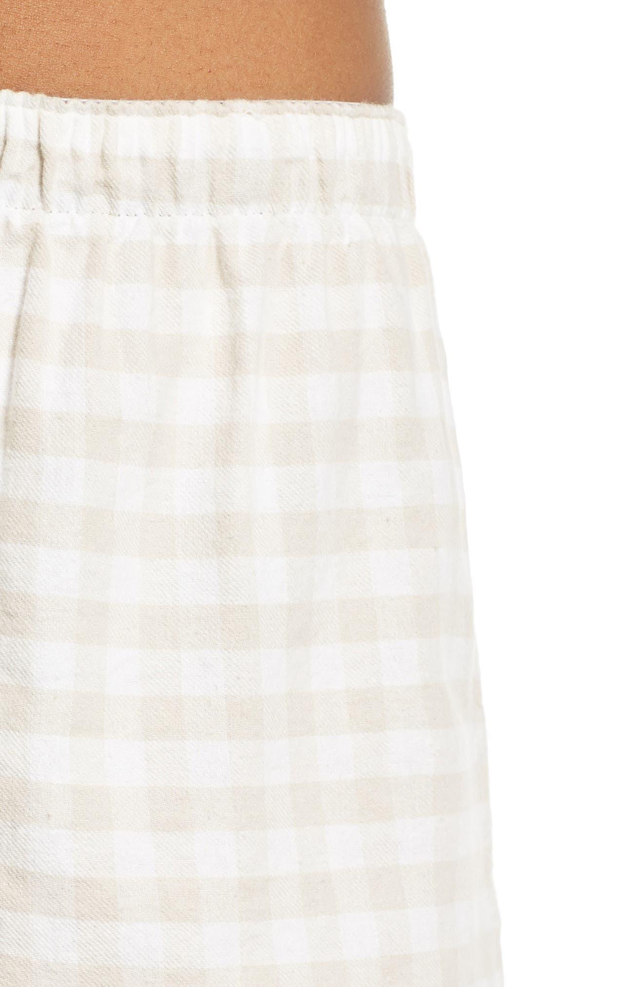Gingham Pajama Shorts,                             Alternate thumbnail 4, color,                             CHAMPAGNE