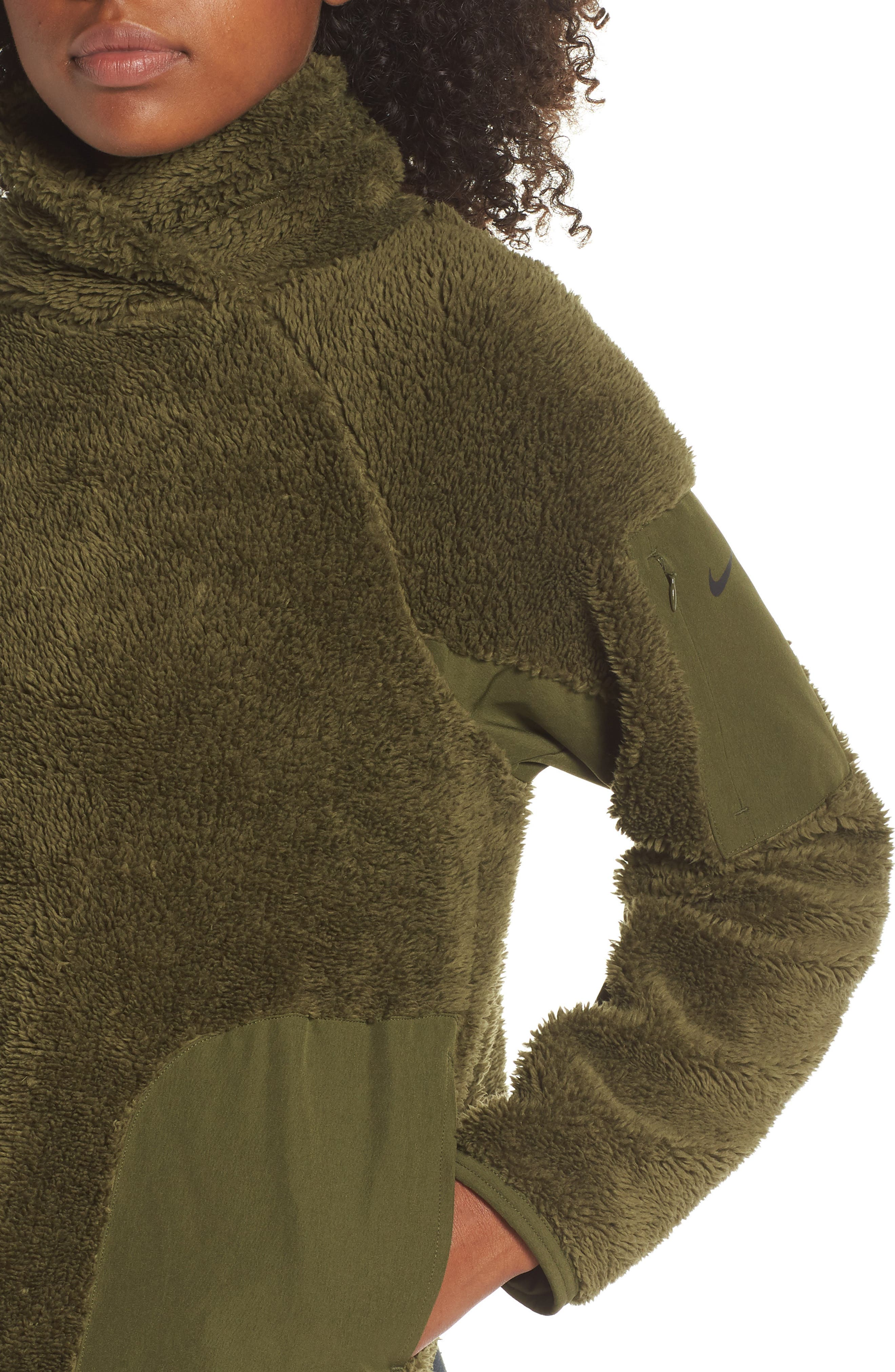 Fleece Mock Neck Top,                             Alternate thumbnail 4, color,                             OLIVE CANVAS/ BLACK