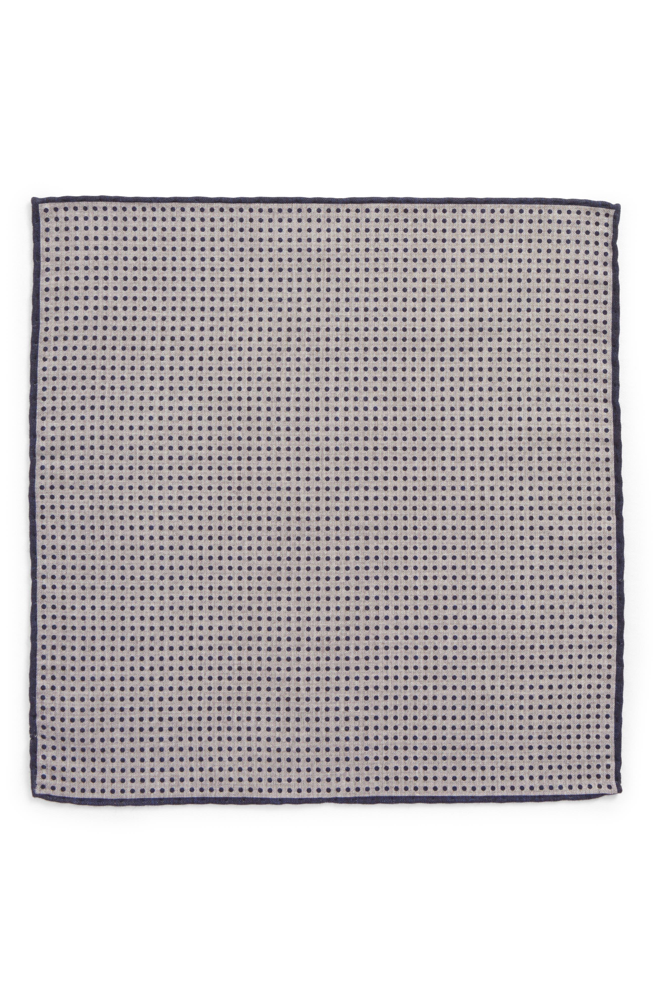 Dot Wool & Cotton Pocket Square,                             Alternate thumbnail 4, color,