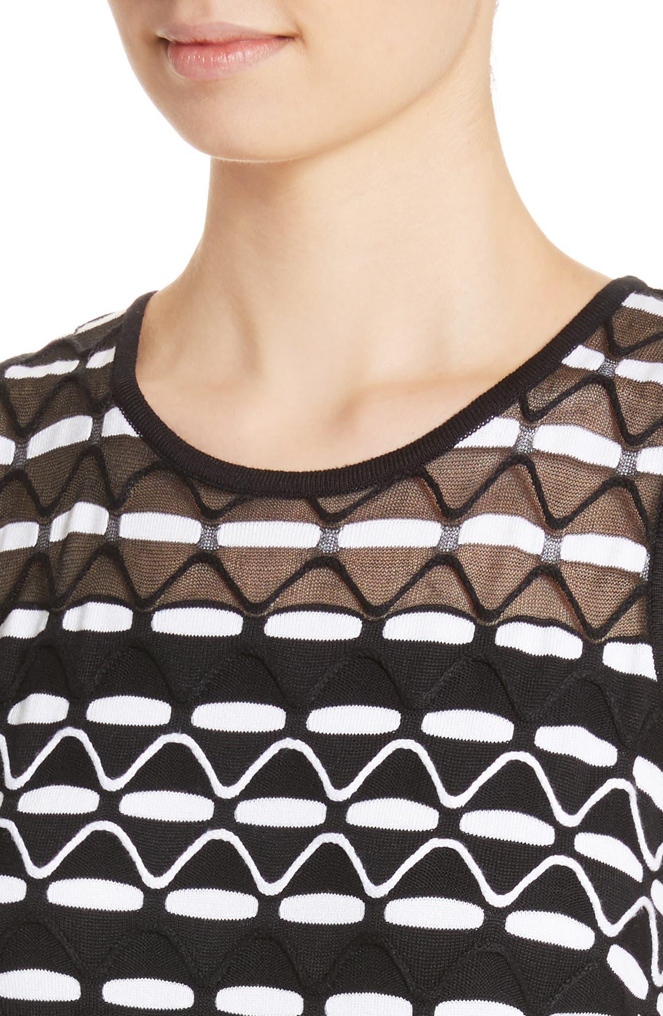 Textural Wave Knit Shell,                             Alternate thumbnail 4, color,                             001