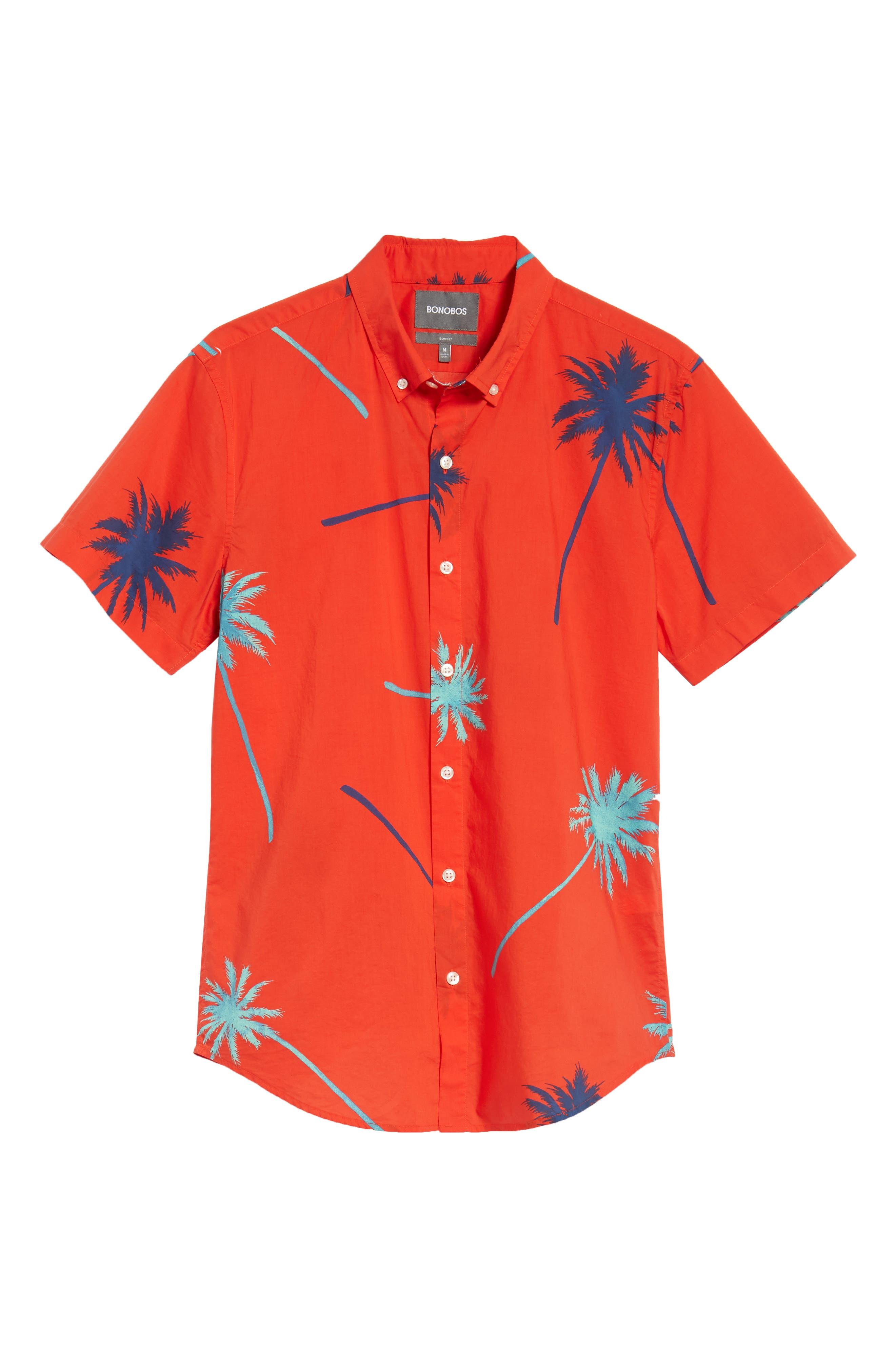 Riviera Slim Fit Palm Print Sport Shirt,                             Alternate thumbnail 5, color,
