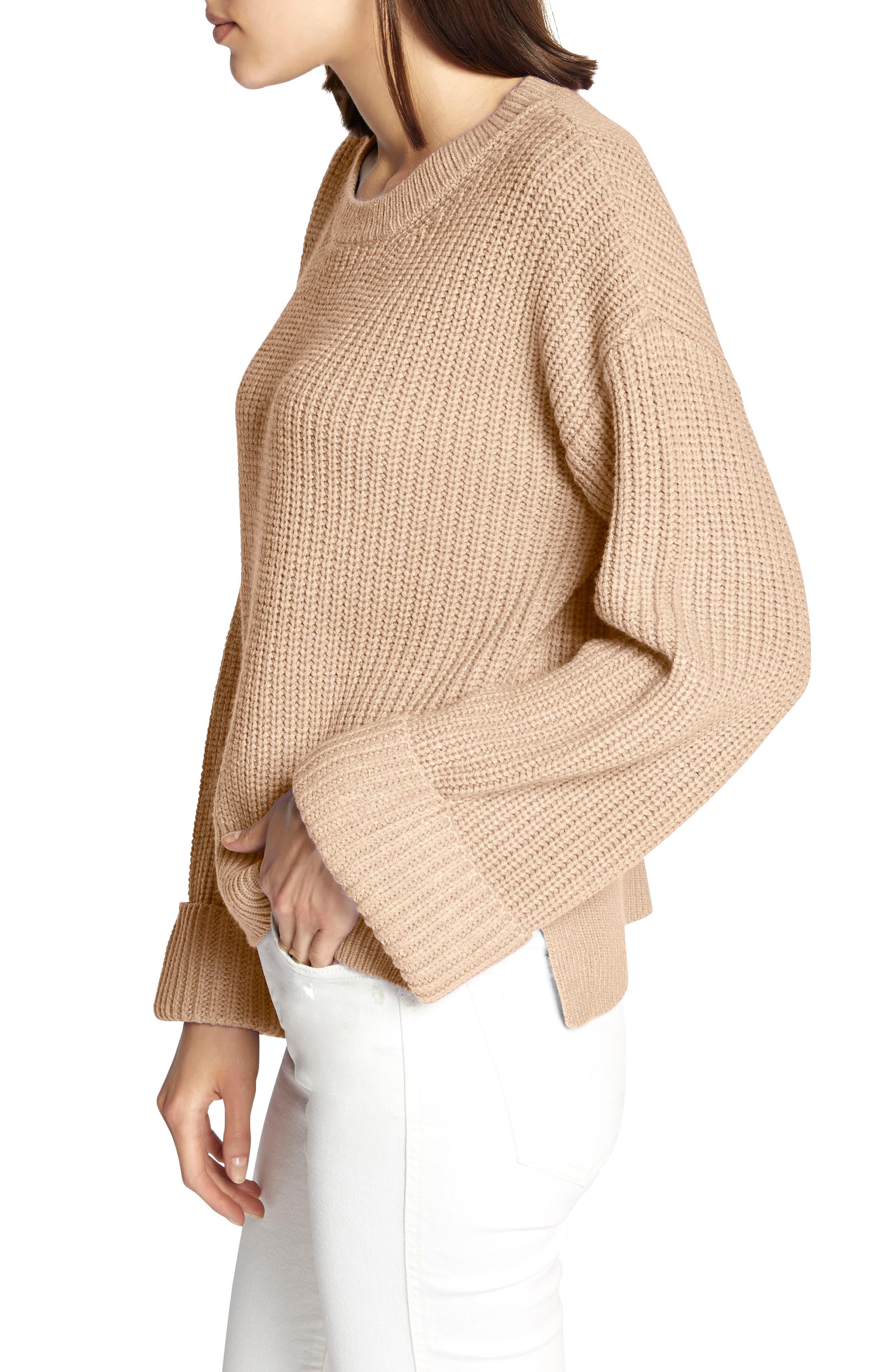 Bell Sleeve Shaker Sweater,                             Alternate thumbnail 3, color,                             CHAMPAGNE