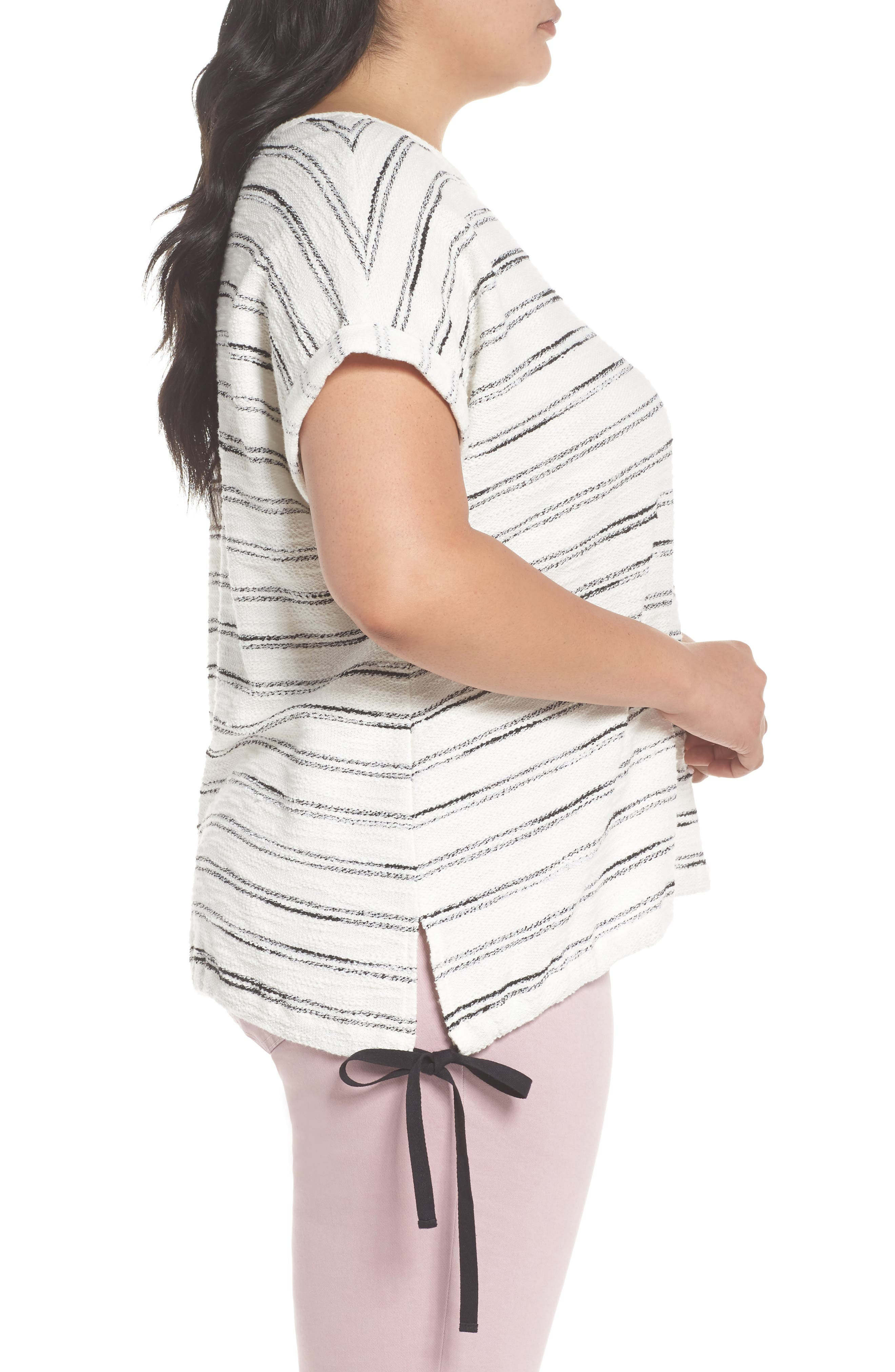 Drawstring Waist Nubby Stripe Top,                             Alternate thumbnail 3, color,                             001