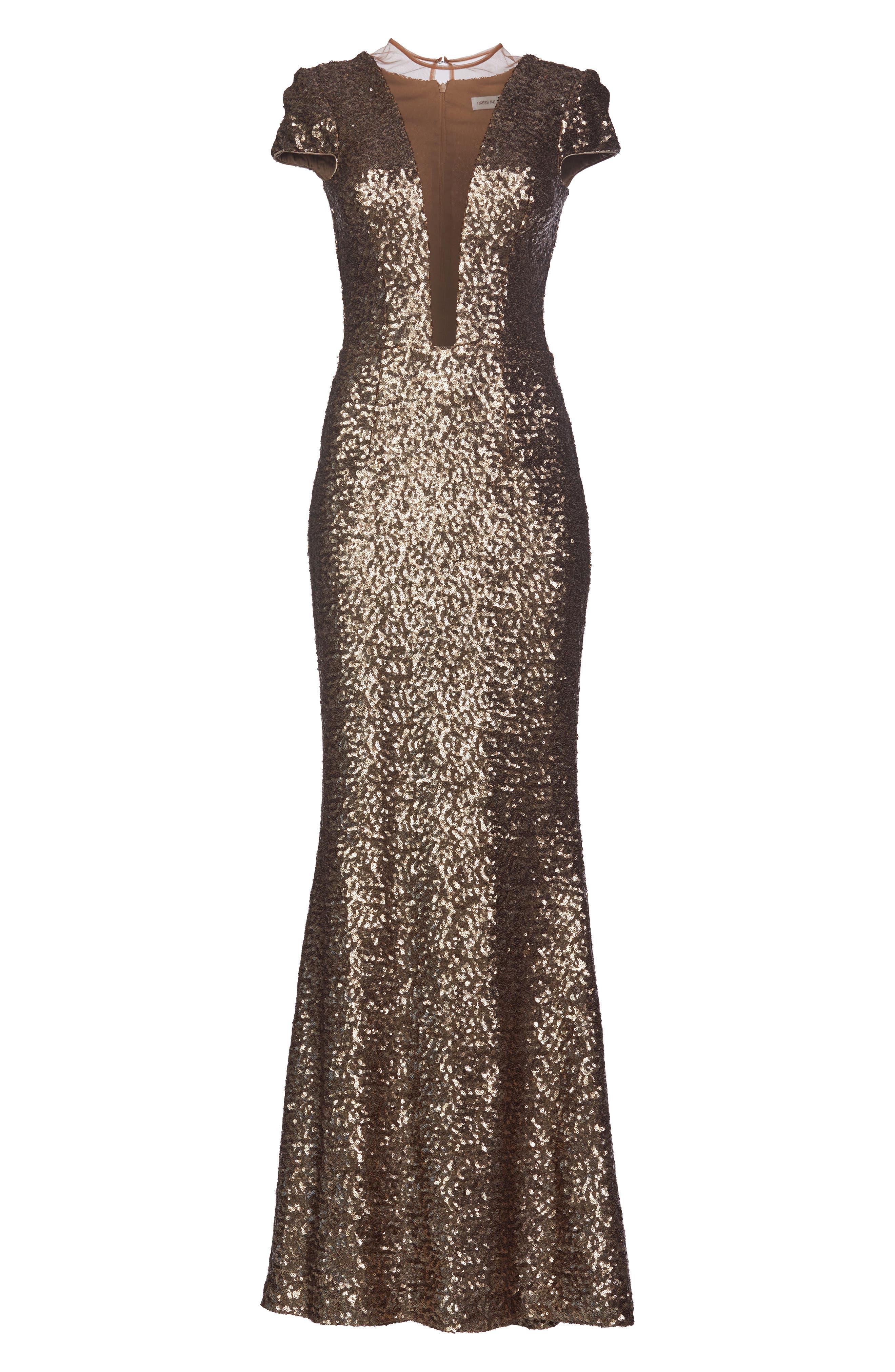 Michelle Sequin Gown,                             Alternate thumbnail 3, color,                             BRASS