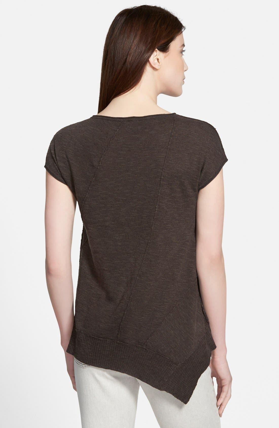 Cap Sleeve Organic Linen & Cotton Scoop Neck Top,                             Alternate thumbnail 47, color,