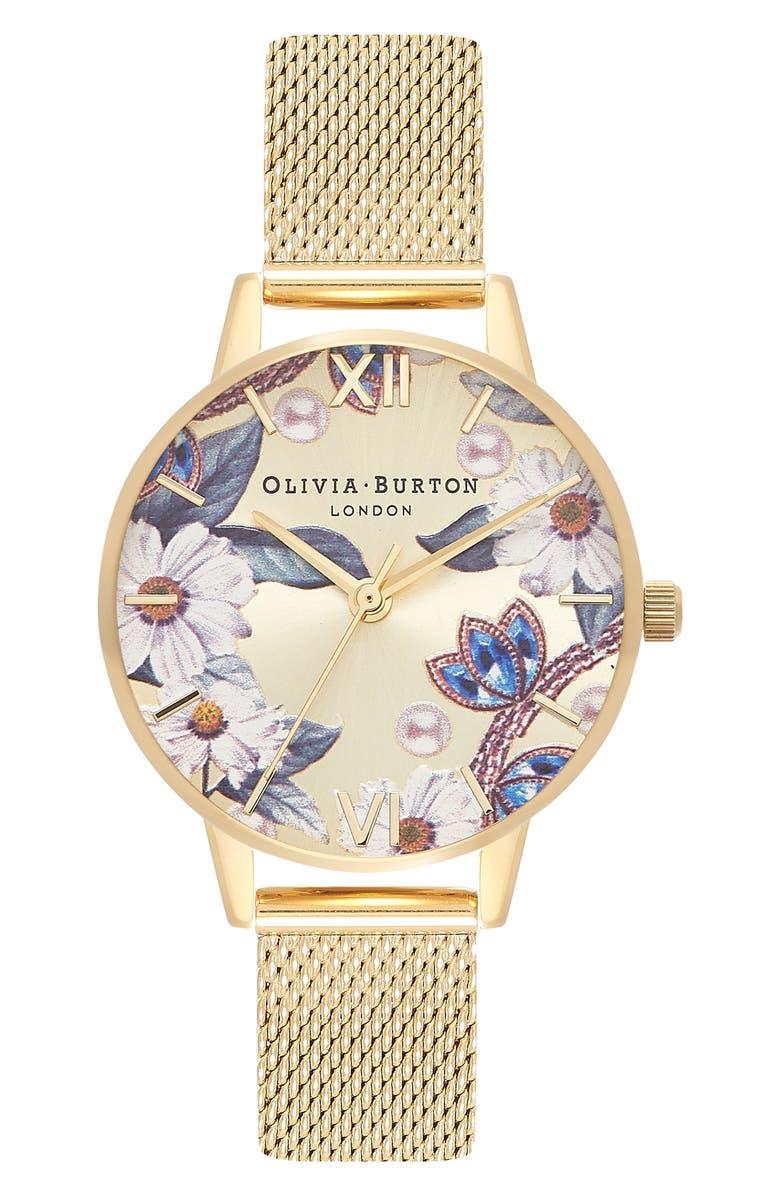 Olivia Burton Bejewelled Floral Mesh Strap Watch, 30mm | Nordstrom