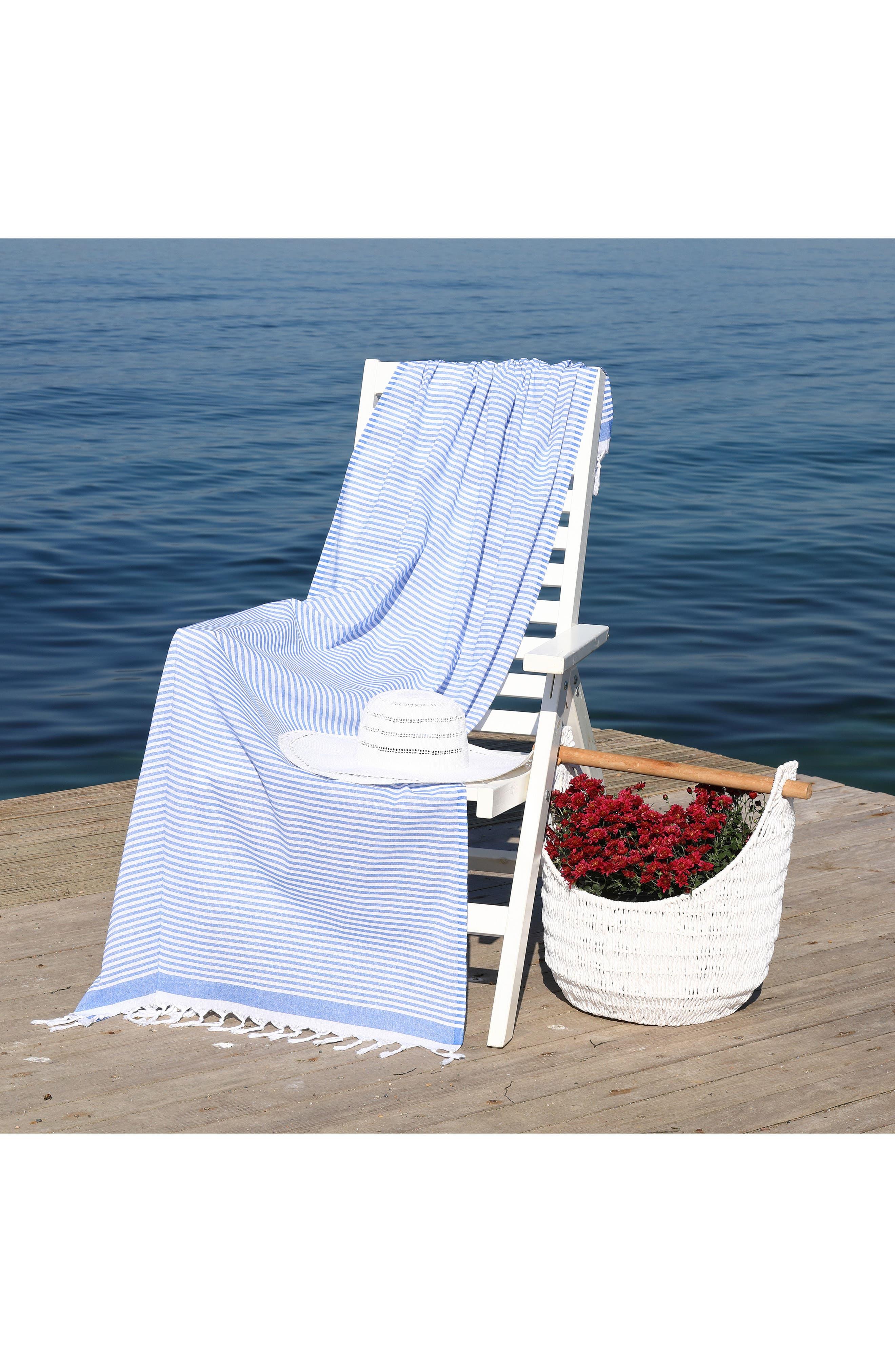 Soft Stripes Turkish Pestemal Towel,                             Alternate thumbnail 11, color,                             BLACK