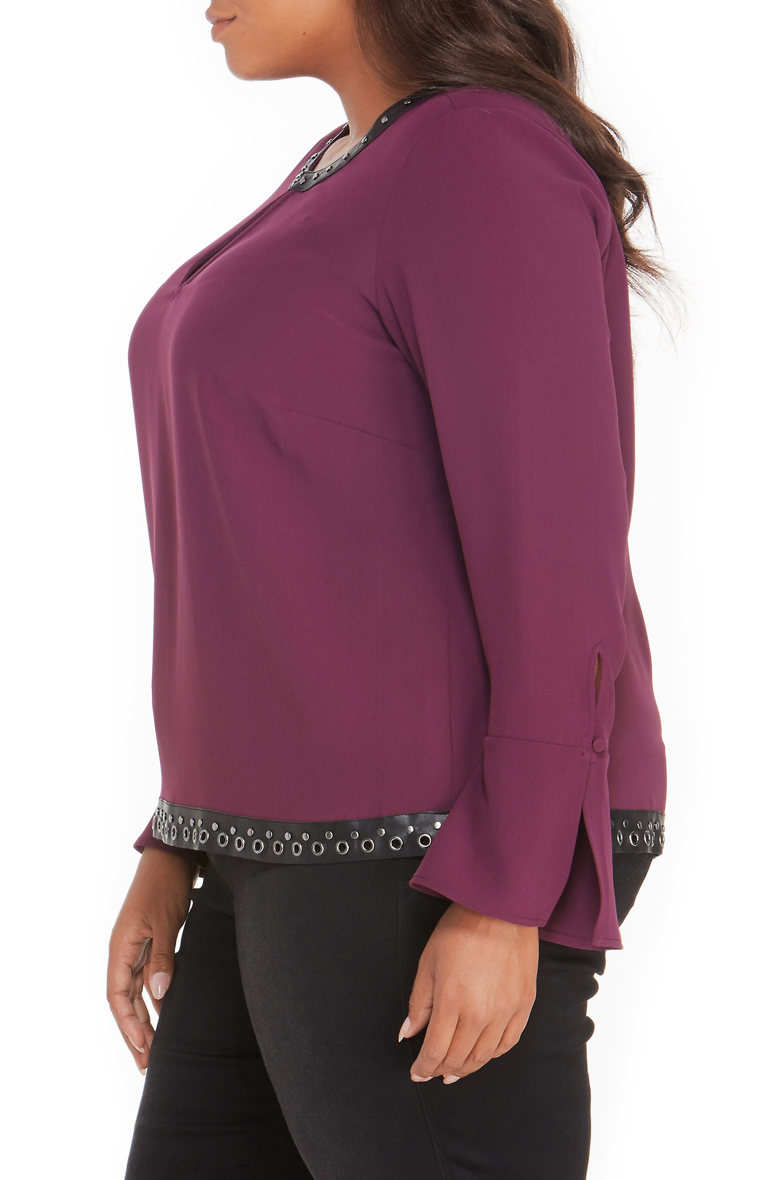 Studded Faux Leather Trim Top,                             Alternate thumbnail 9, color,
