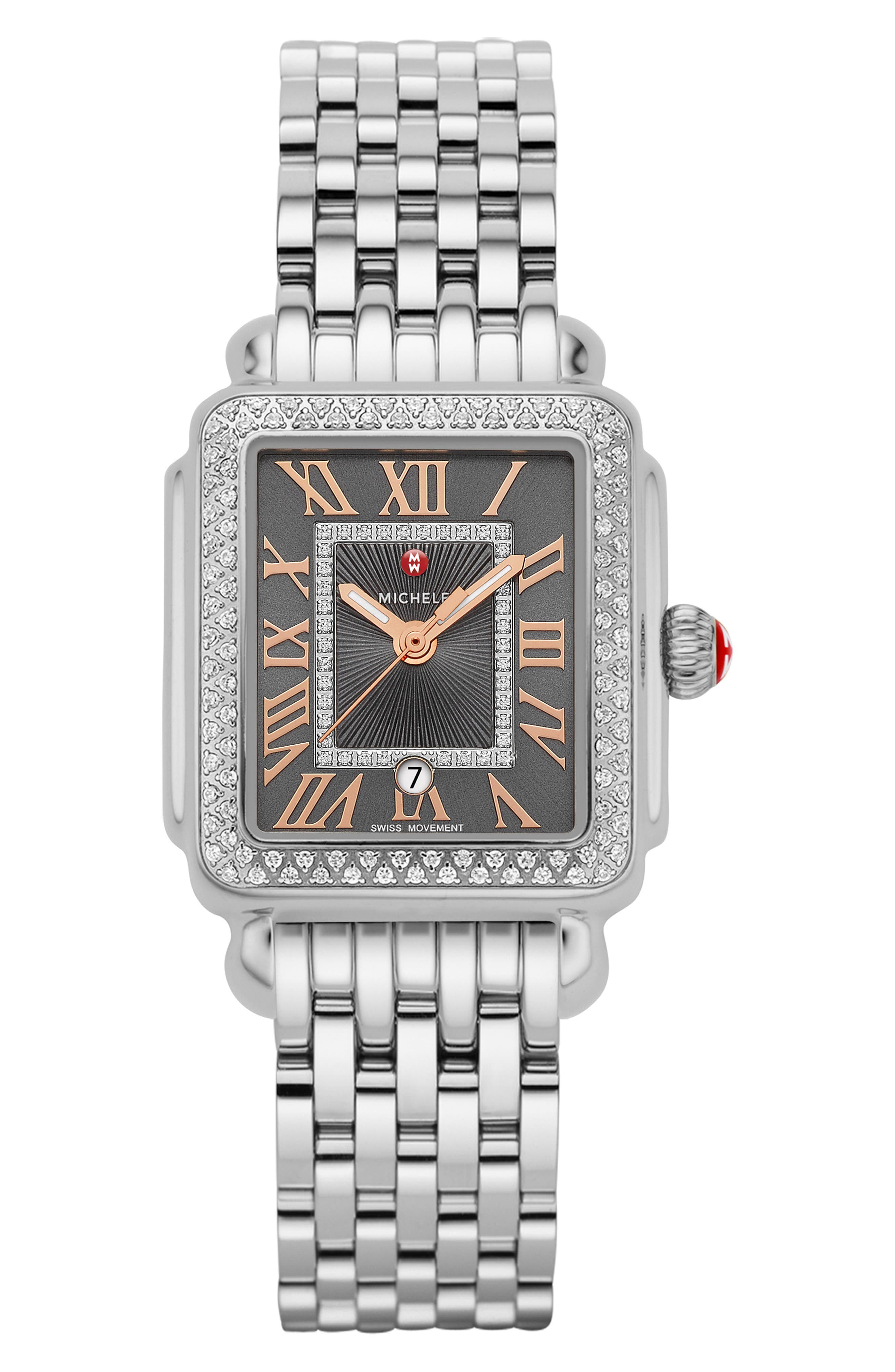 Deco Madison Mid Diamond Dial Watch Head, 29mm x 31mm,                             Alternate thumbnail 5, color,                             SILVER/ SHADOW GREY