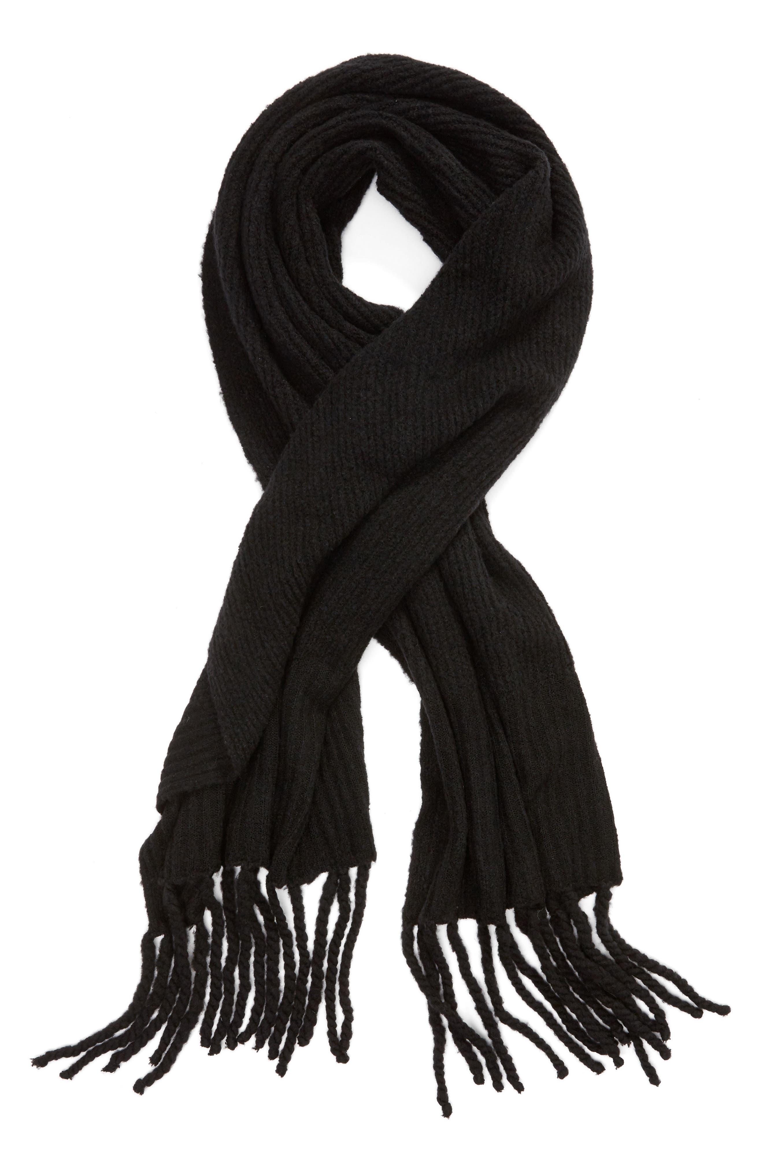 Jaden Rib Knit Blanket Scarf,                             Alternate thumbnail 2, color,                             001