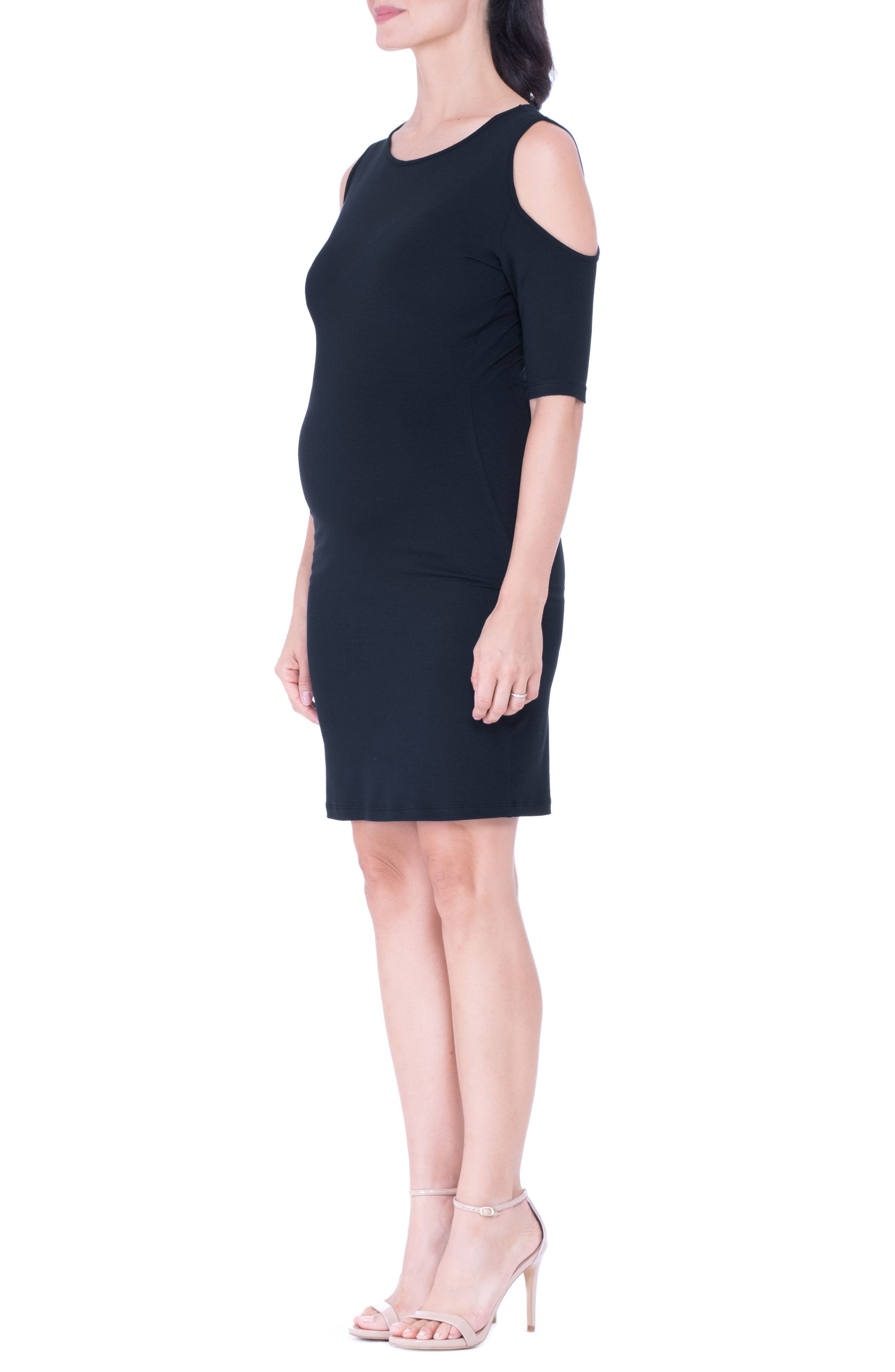 Cold Shoulder Body-Con Maternity Dress,                             Alternate thumbnail 3, color,