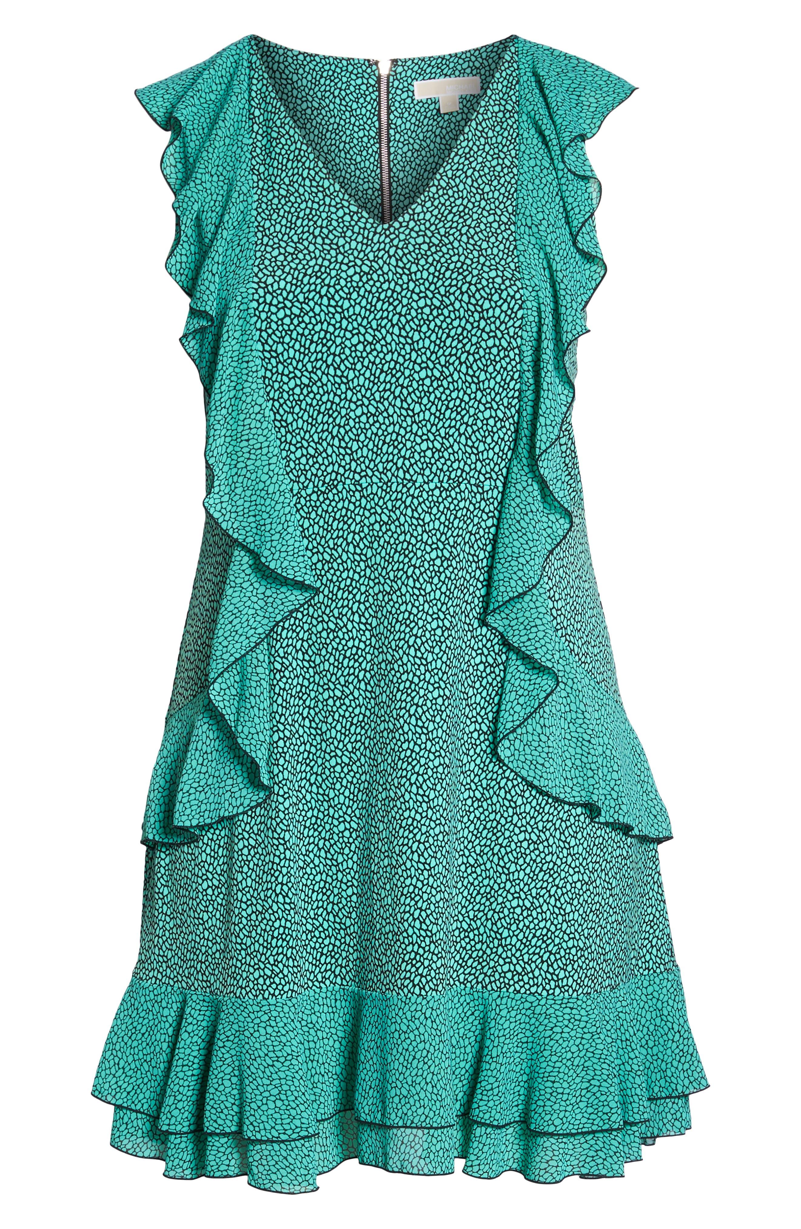 Cascade Ruffle Dress,                             Alternate thumbnail 7, color,                             AQUA/ BLACK