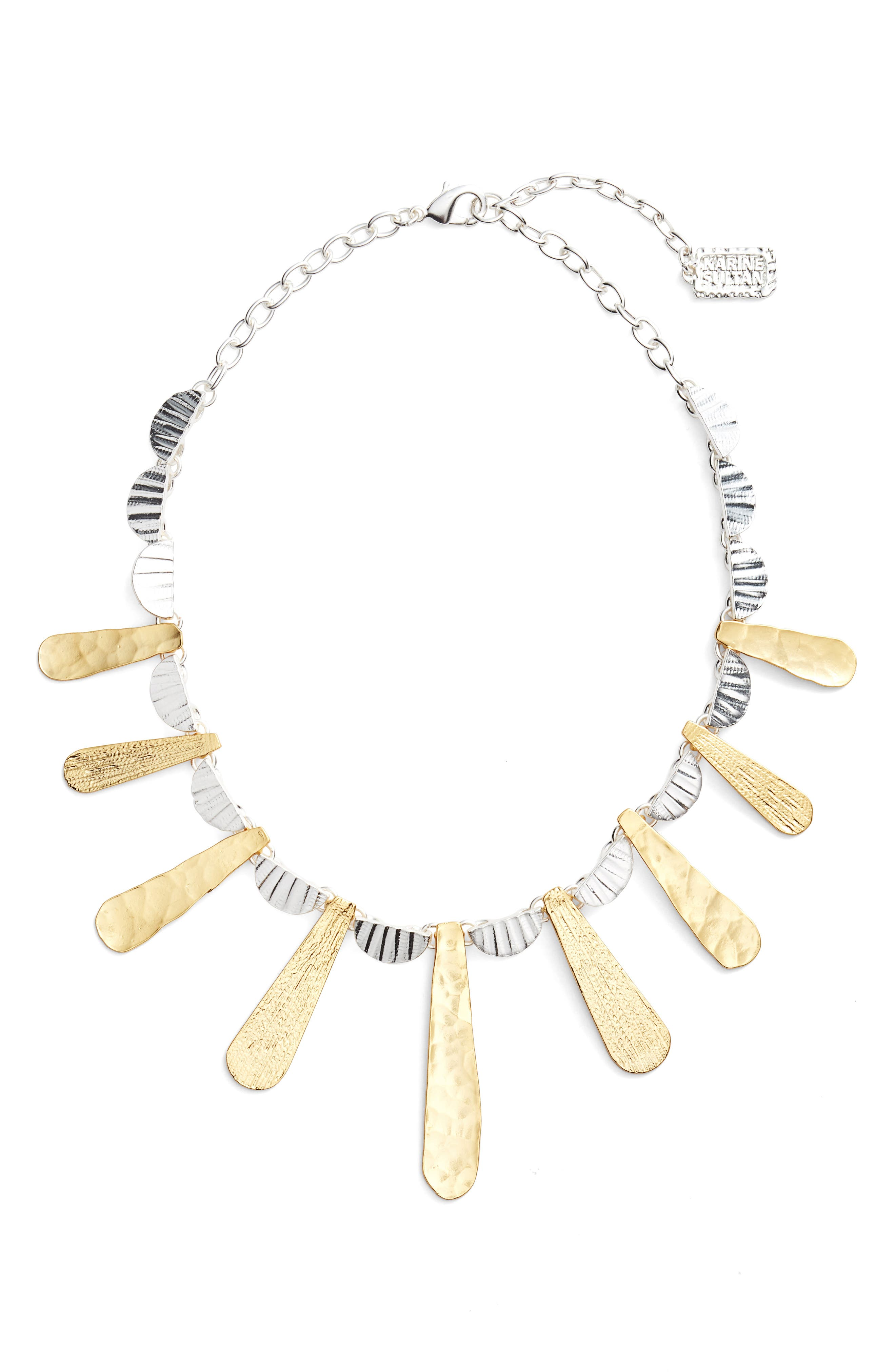 Hammered Collar Necklace,                         Main,                         color, SILVER/GOLD MIX