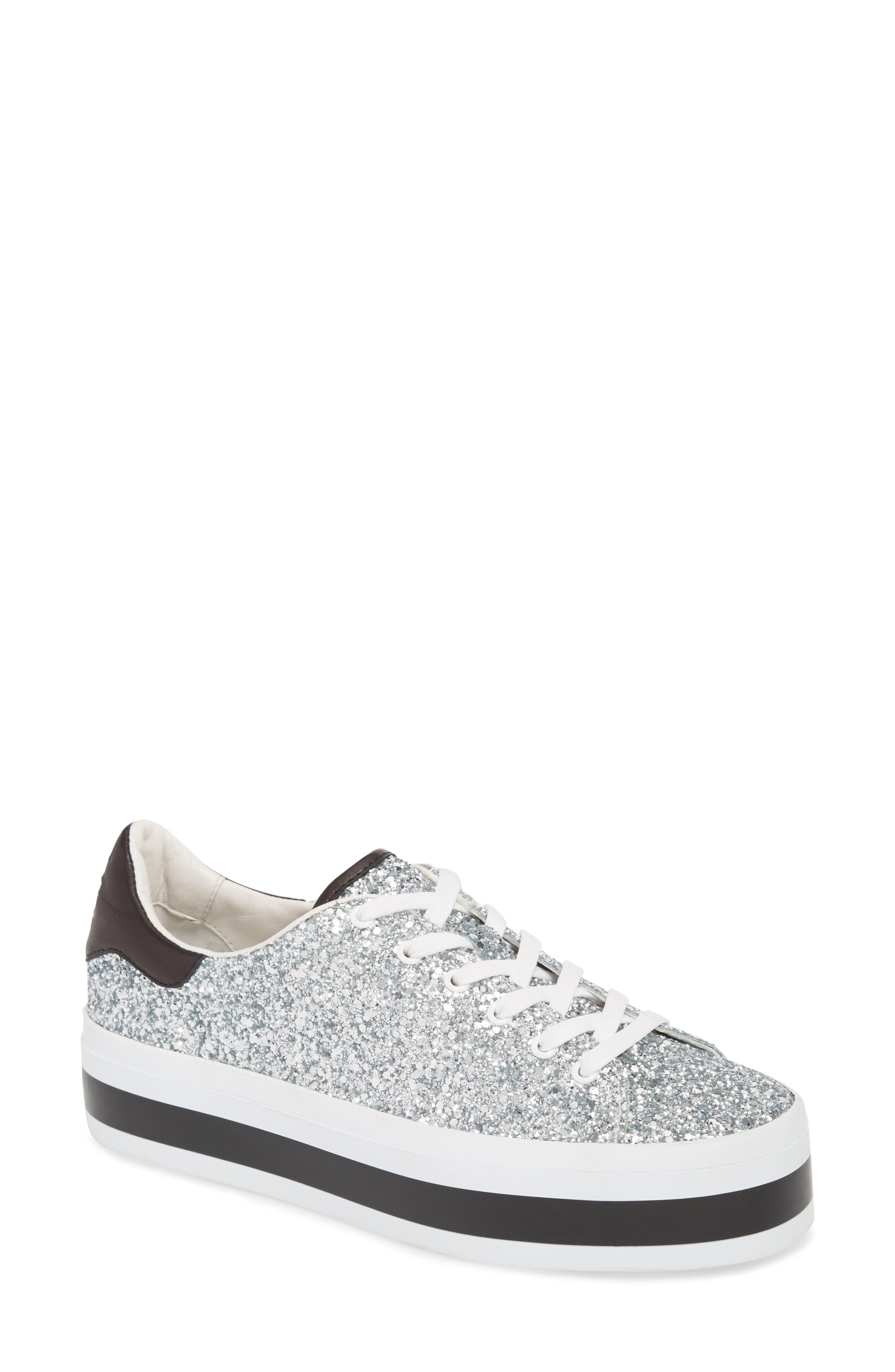 Ezra Flatform Sneaker,                         Main,                         color, SILVER