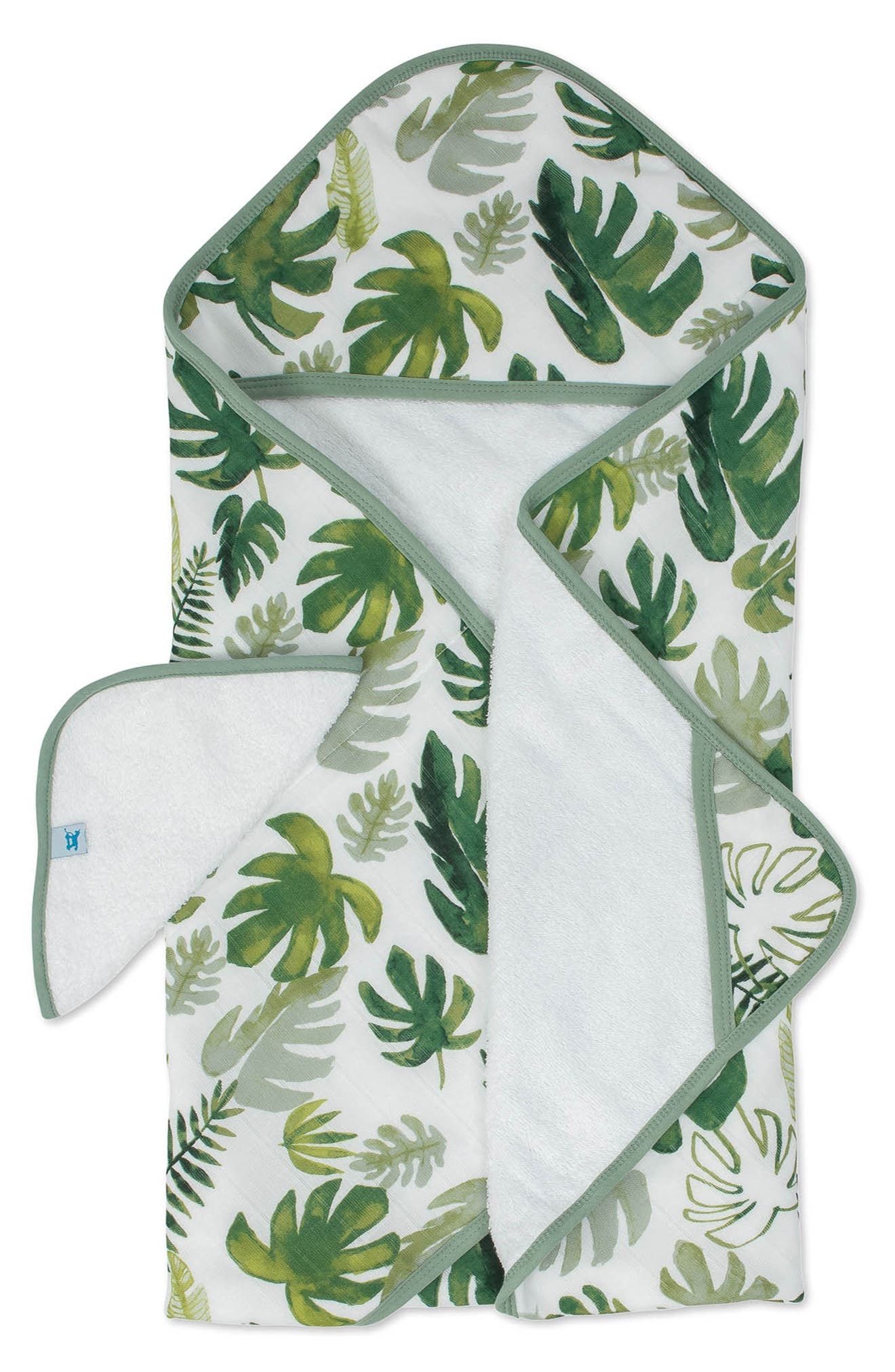 Hooded Towel and Washcloth Set,                             Alternate thumbnail 4, color,                             TROPICAL LEAF