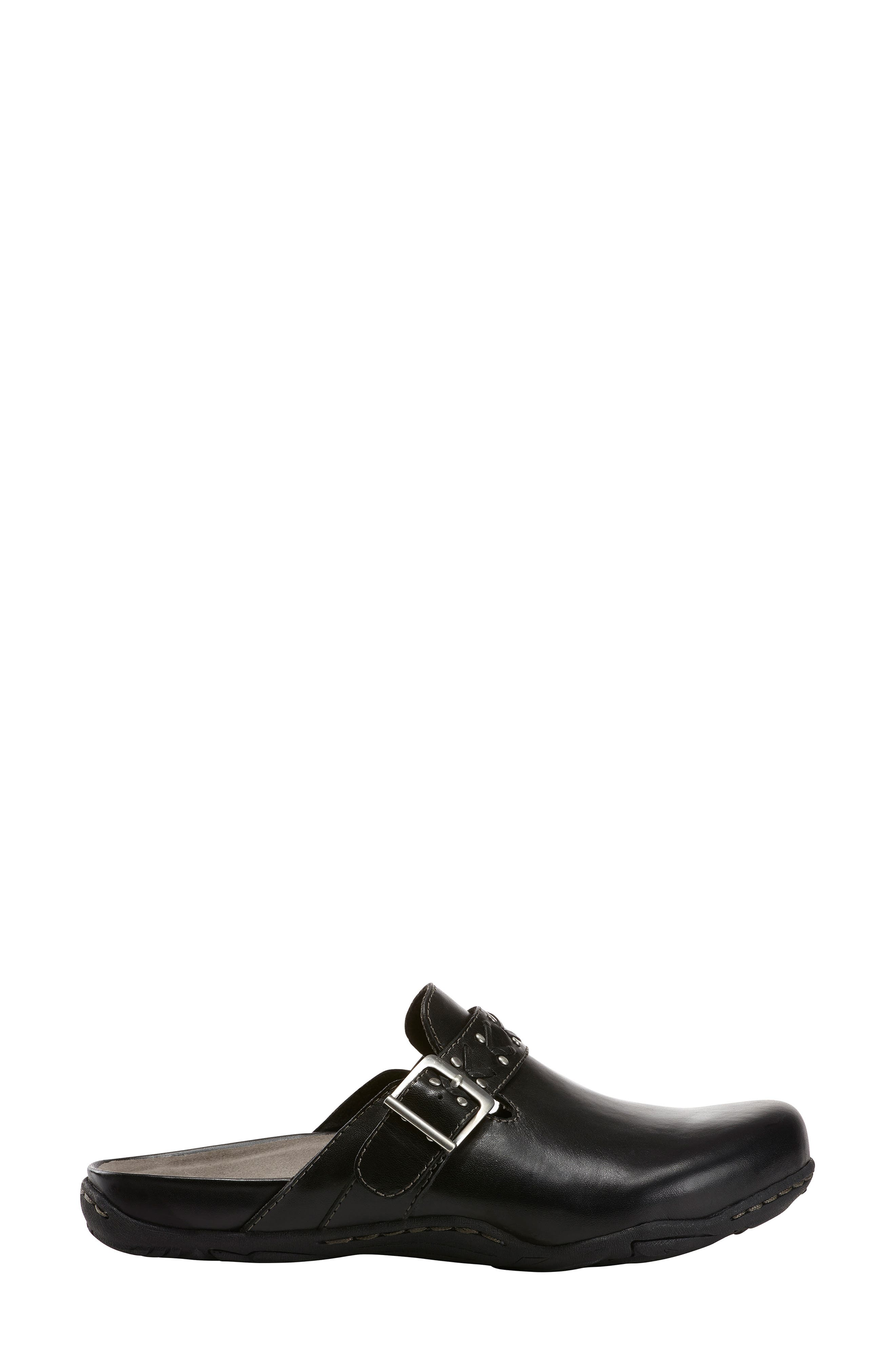 Cayman Clog,                             Alternate thumbnail 3, color,                             BLACK LEATHER