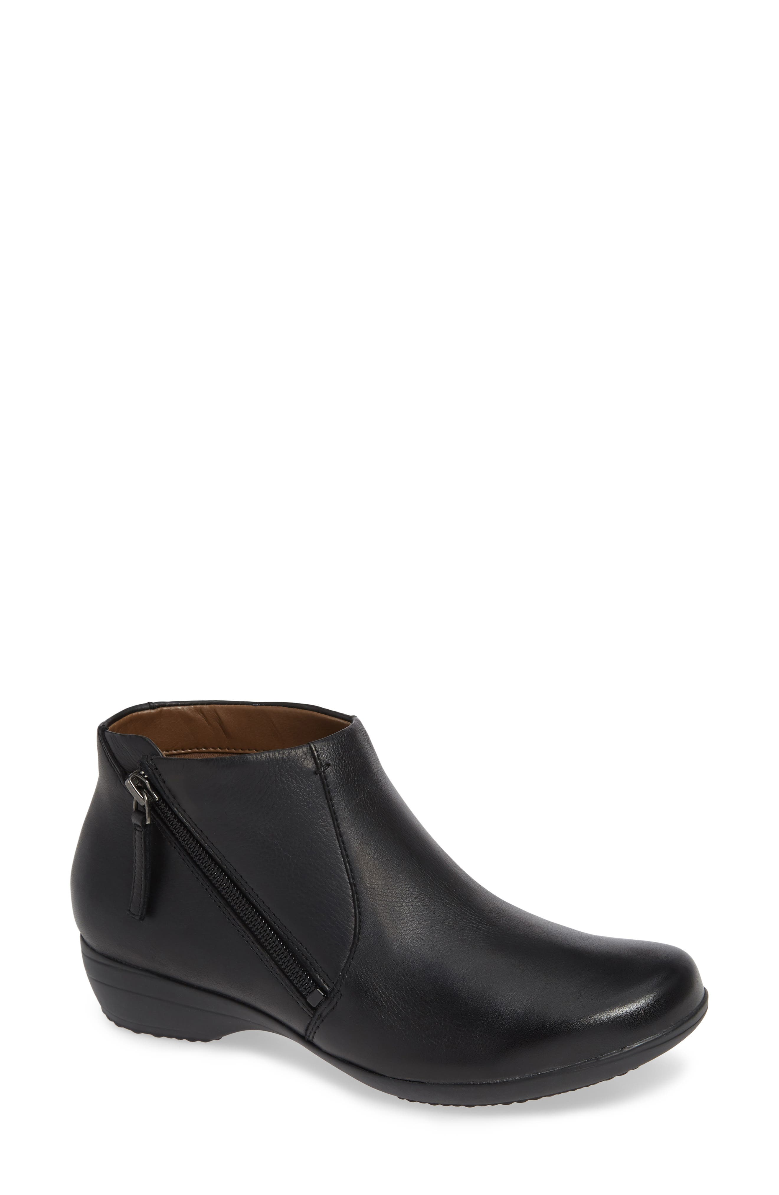 Fifi Bootie,                         Main,                         color, BLACK MILLED LEATHER