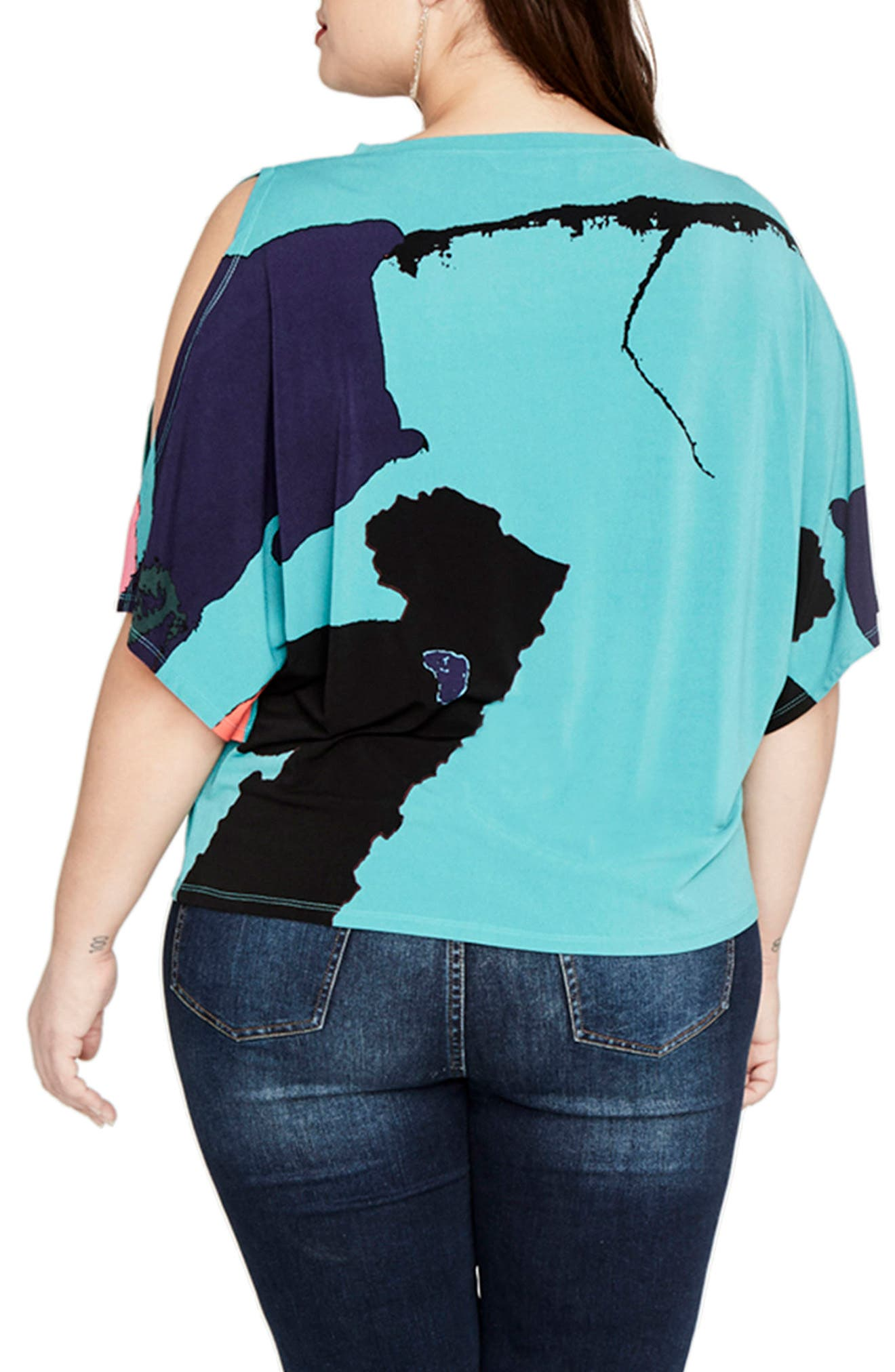 Rachel Roy Print Cold Shoulder Top,                             Alternate thumbnail 3, color,
