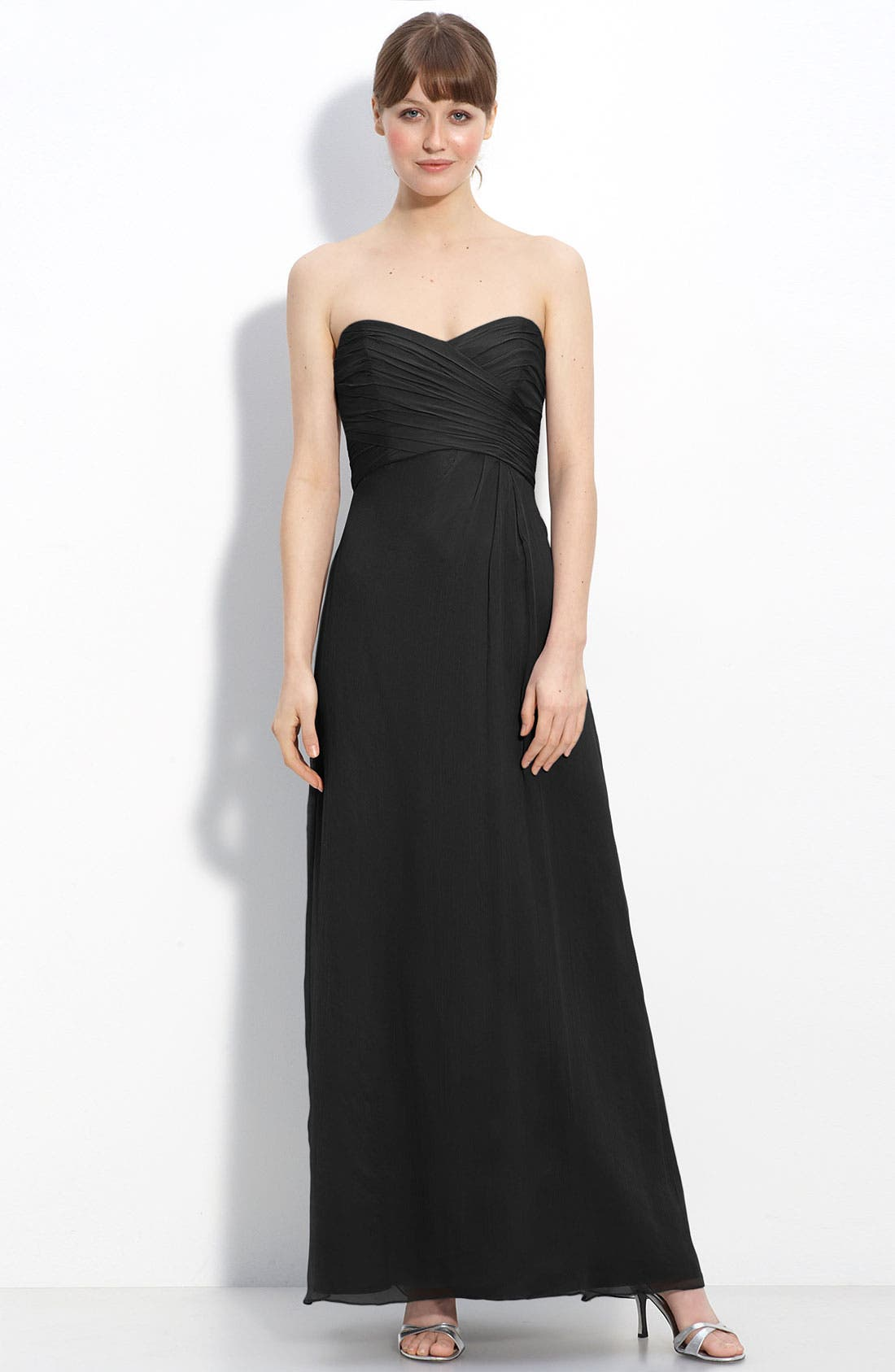 Strapless Crinkle Chiffon Gown,                             Main thumbnail 5, color,