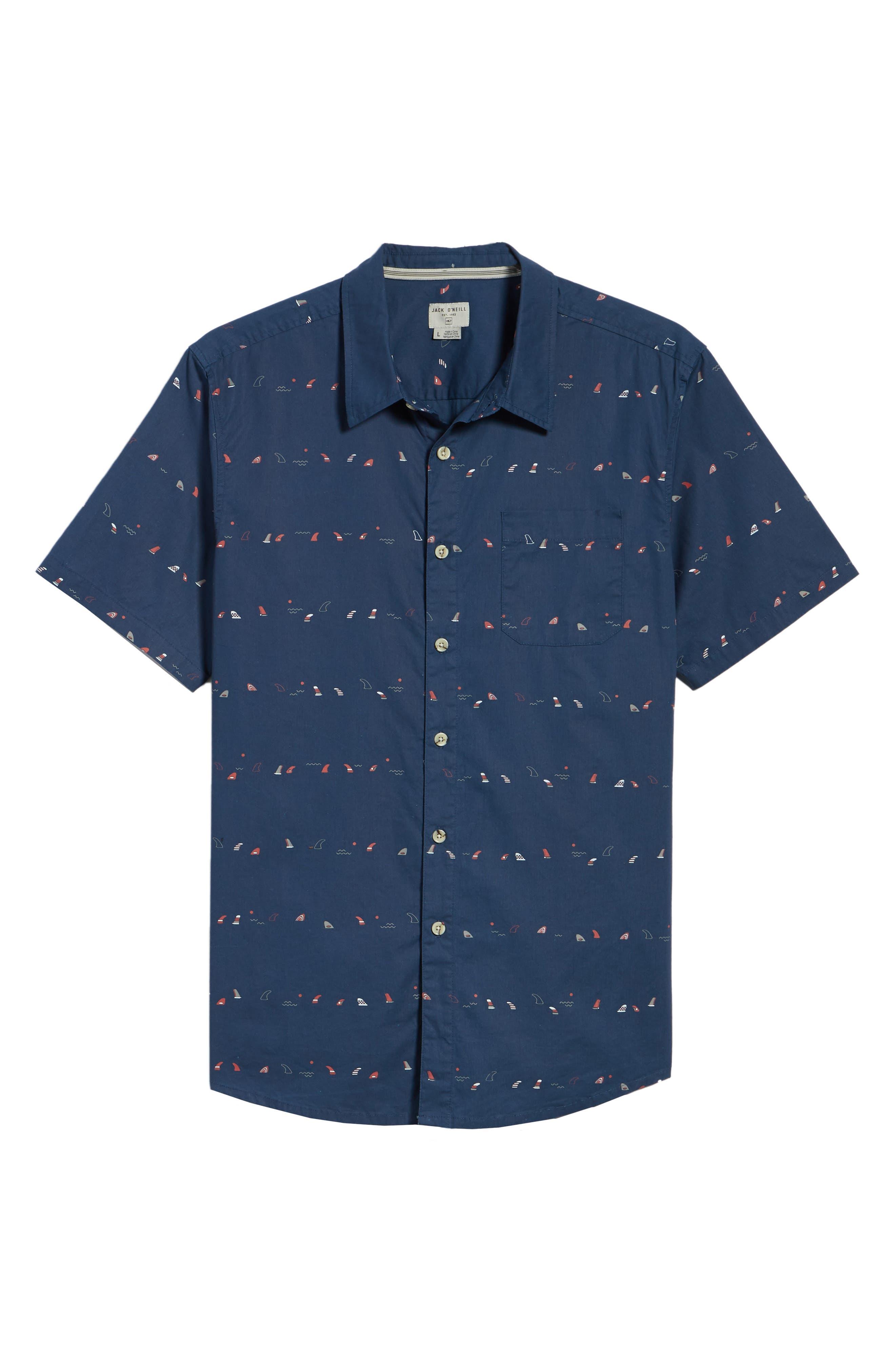 Single Fin Regular Fit Short Sleeve Sport Shirt,                             Alternate thumbnail 12, color,