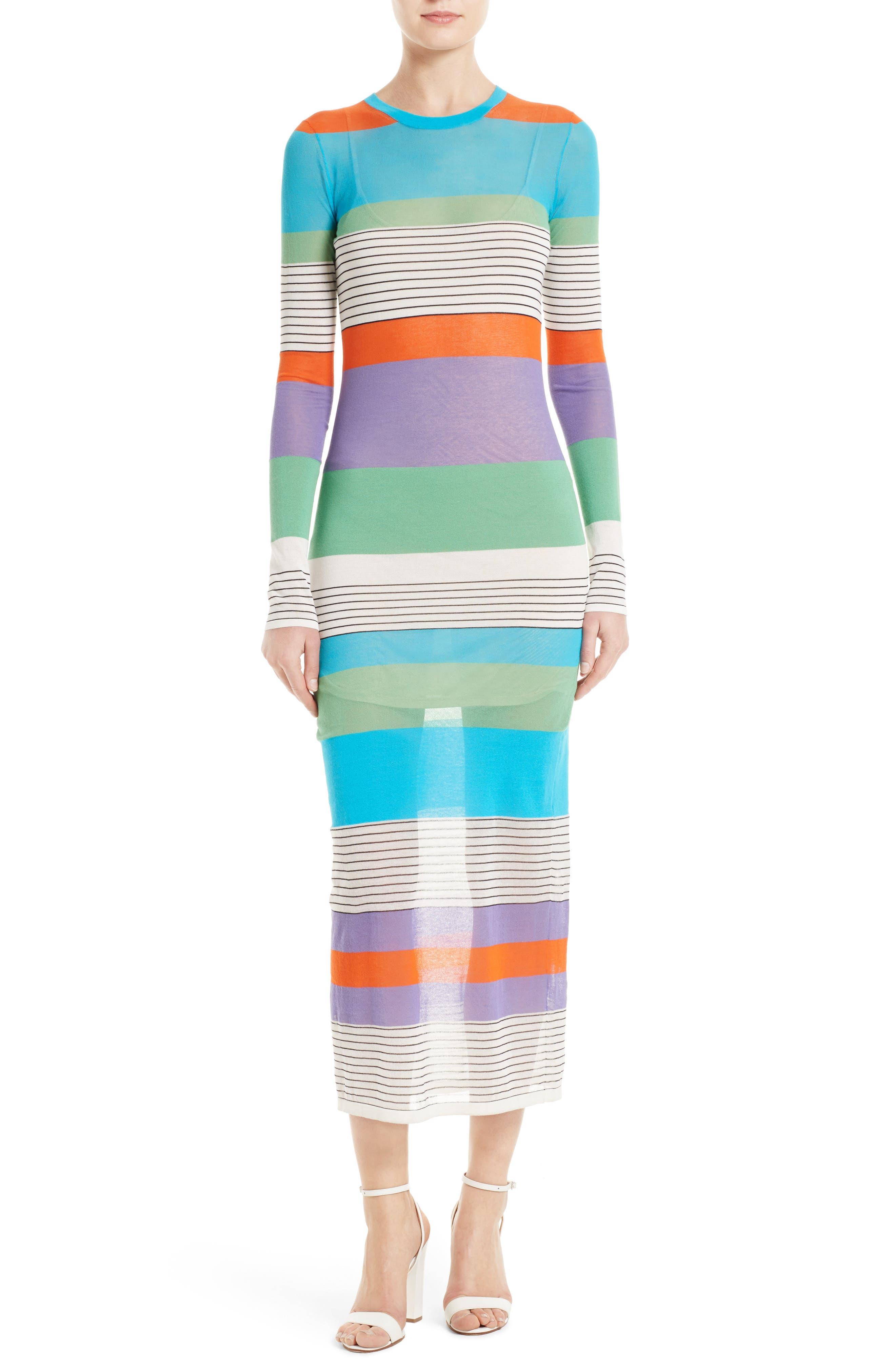 Colorblock Knit Midi Dress,                             Alternate thumbnail 5, color,                             441