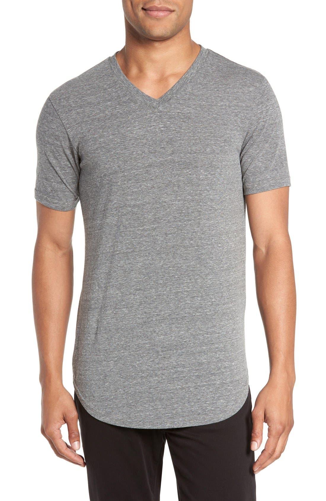Scallop Triblend V-Neck T-Shirt,                         Main,                         color, HEATHER GREY