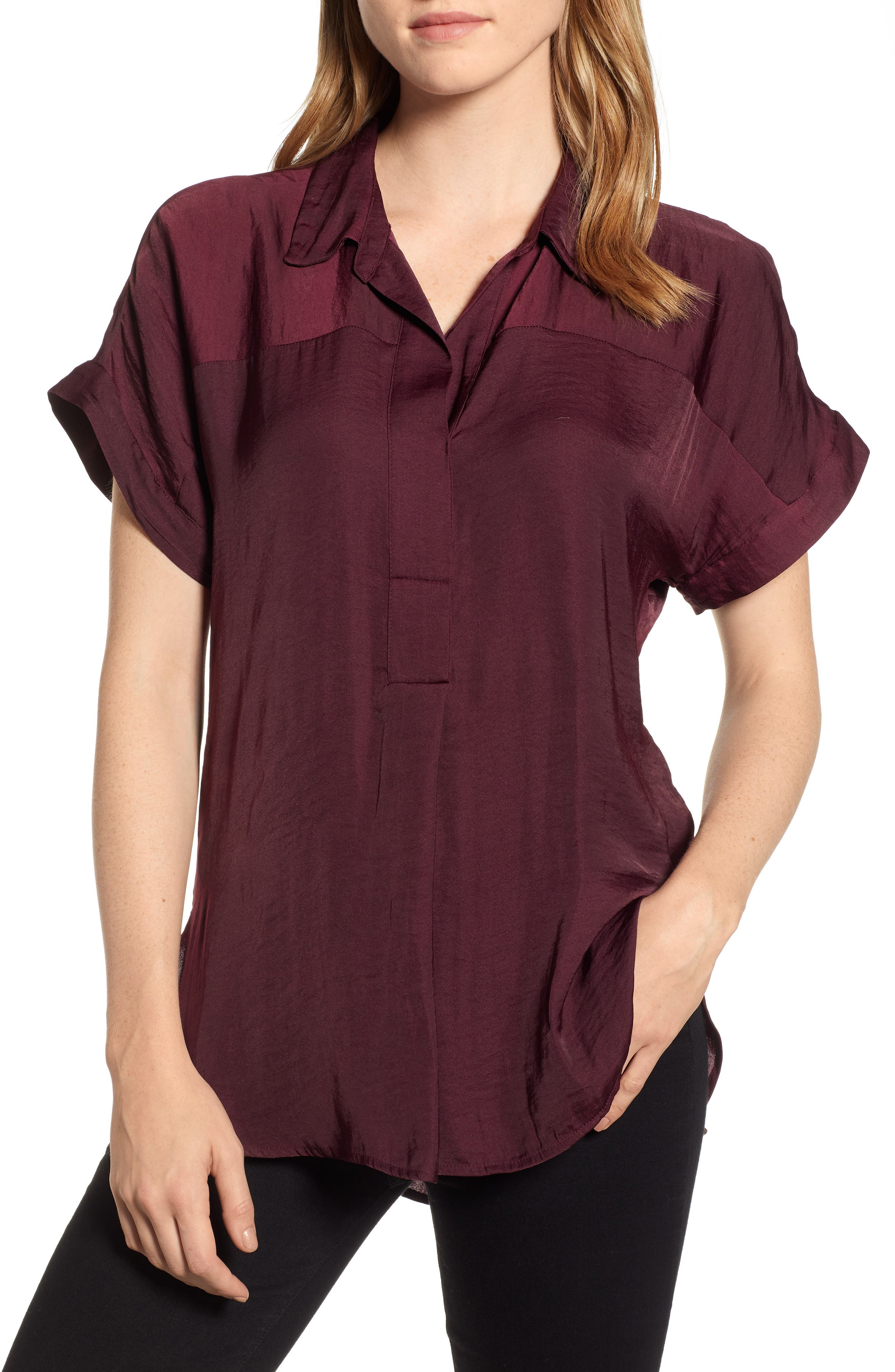 Hammered Satin Blouse,                             Main thumbnail 1, color,                             CABERNET