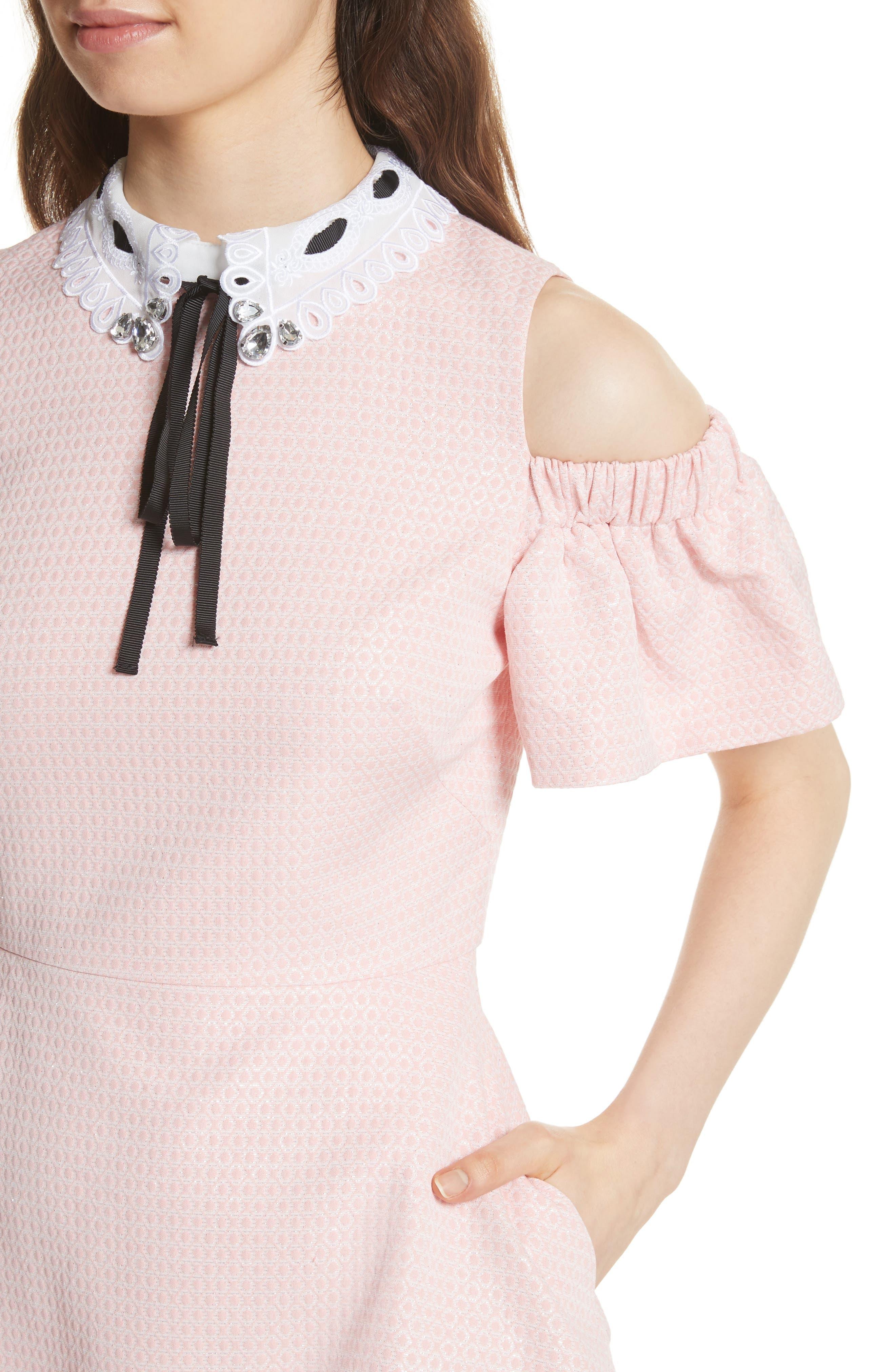 Cold Shoulder Skater Dress,                             Alternate thumbnail 8, color,