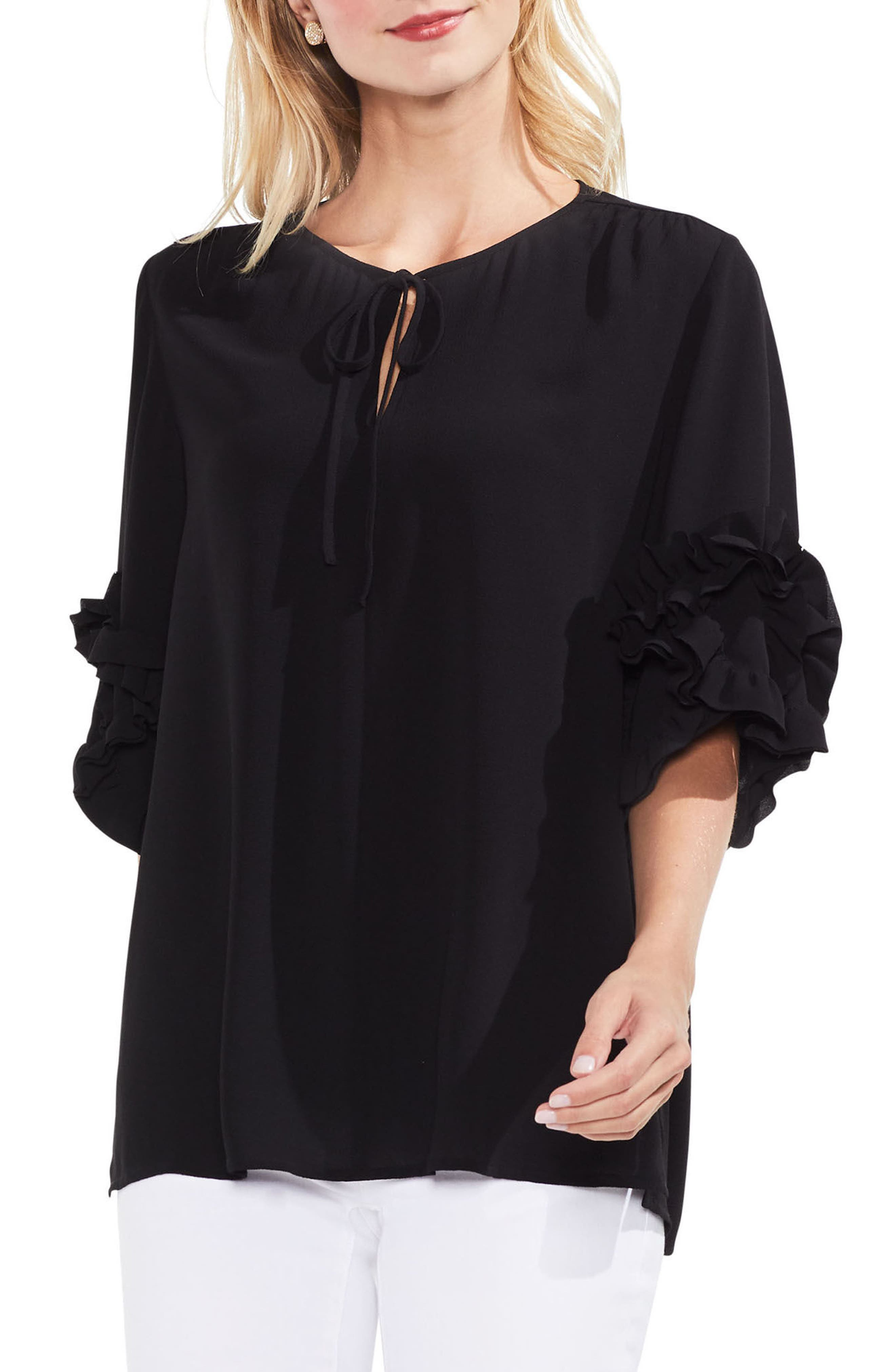 Ruffle Sleeve Tie Neck Blouse,                         Main,                         color, 006