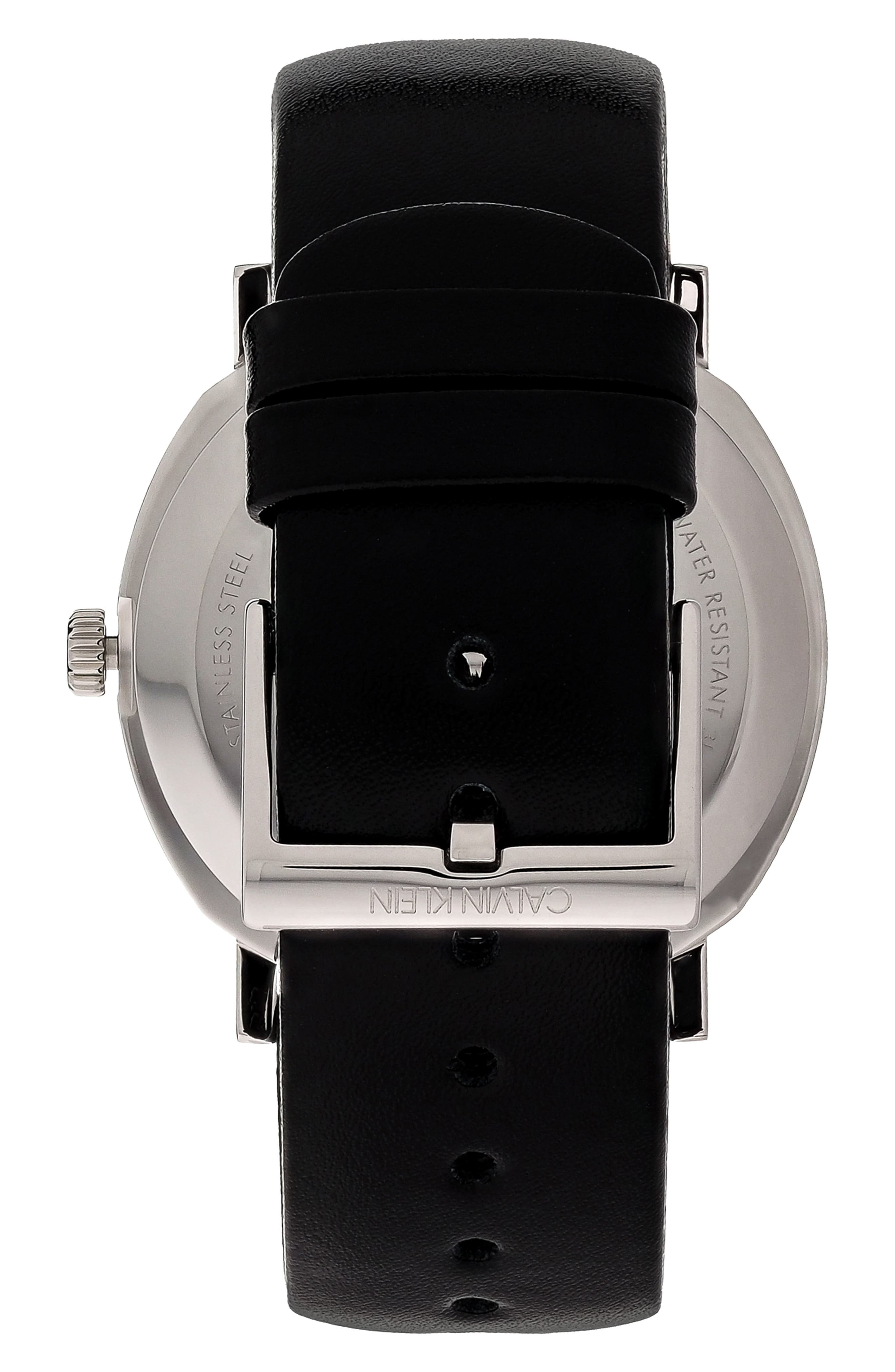 Posh Leather Band Watch, 40mm,                             Alternate thumbnail 2, color,                             BLACK/ SILVER