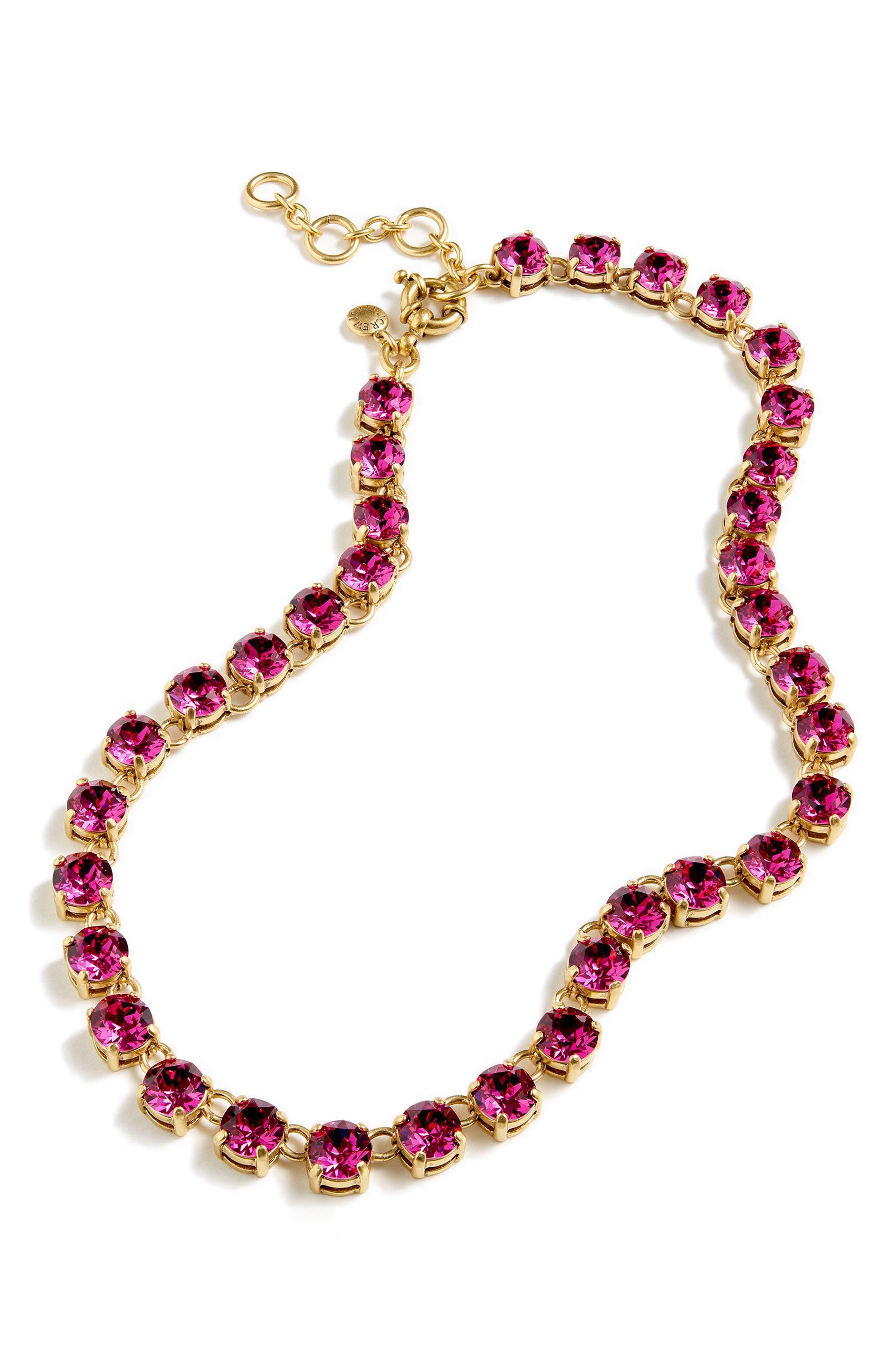 J.CREW Swarovski Crystal Dot Necklace in Warm Blush