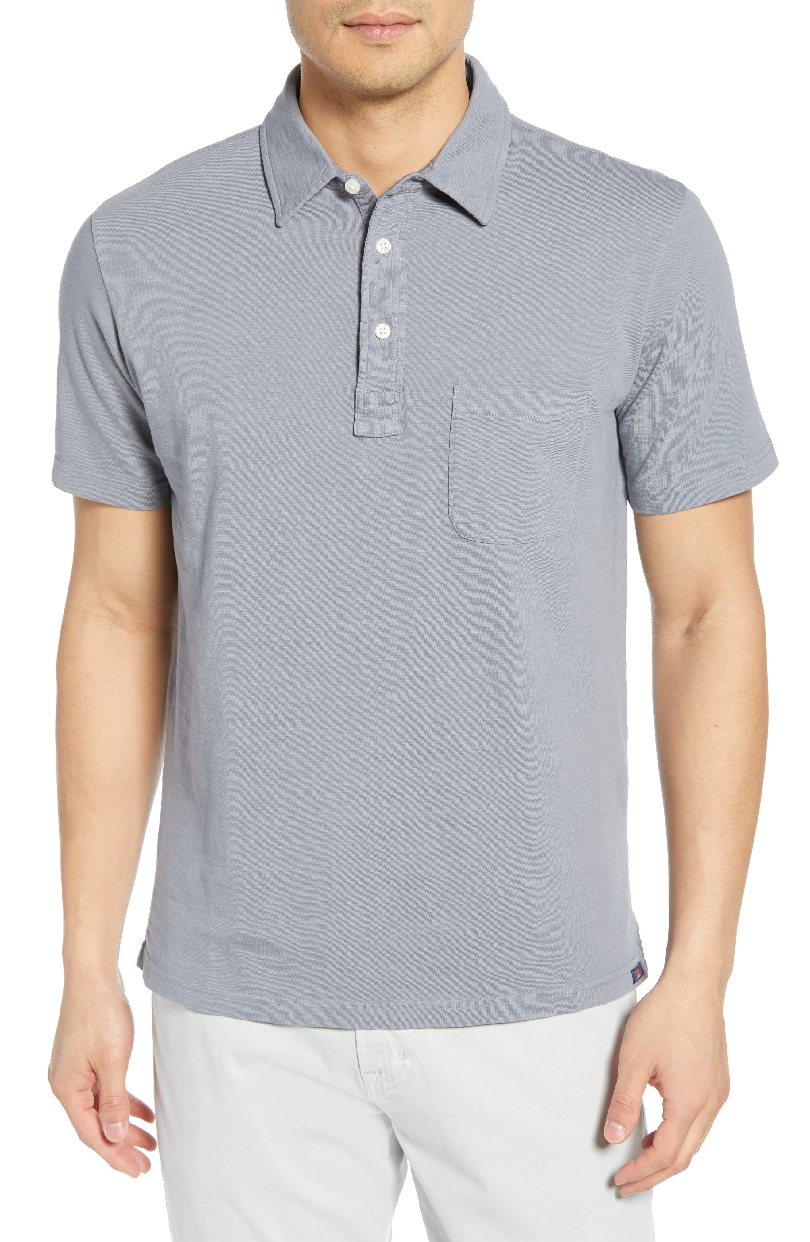 Faherty Sunwashed Regular Fit Polo, Blue