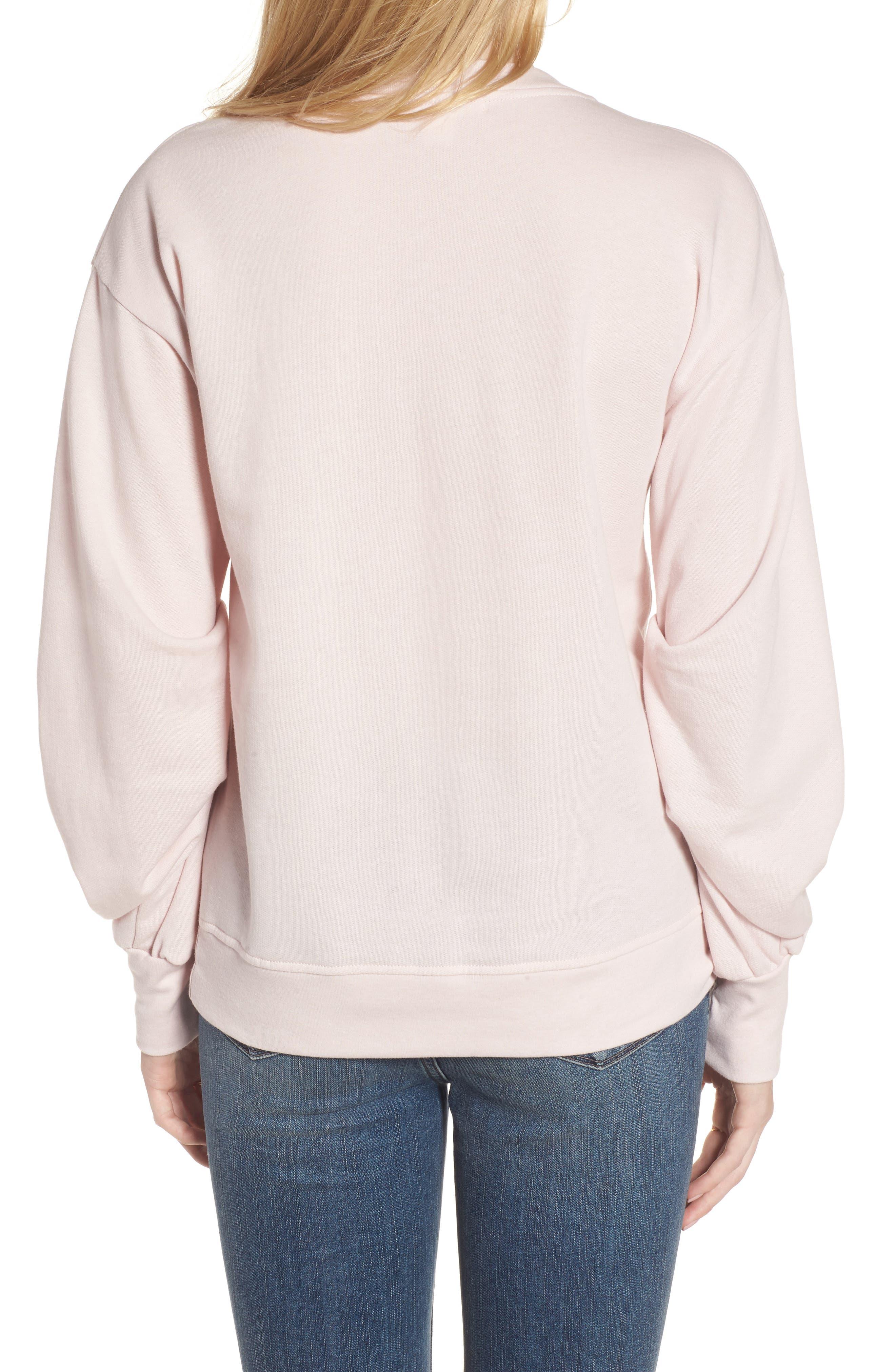 Pleated Sleeve Sweatshirt,                             Alternate thumbnail 4, color,